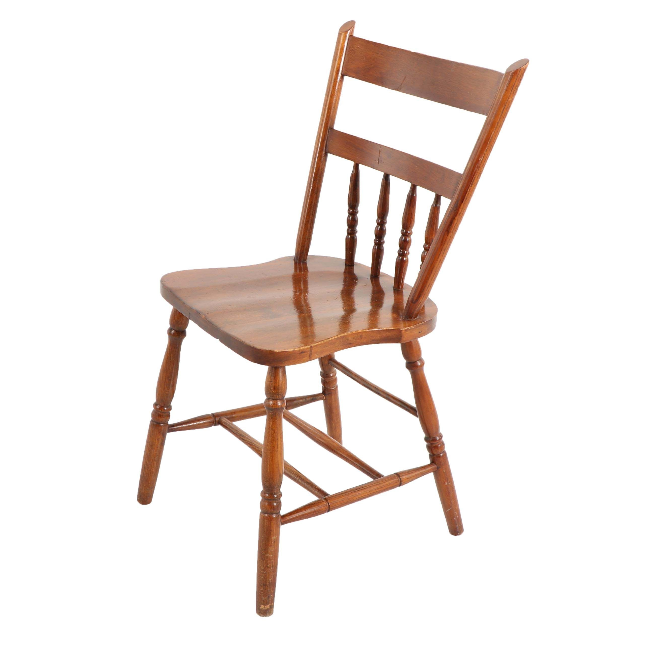 Oak Spindle Back Side Chair by H.B. Lee Furniture Co., Early/Mid 20th Century