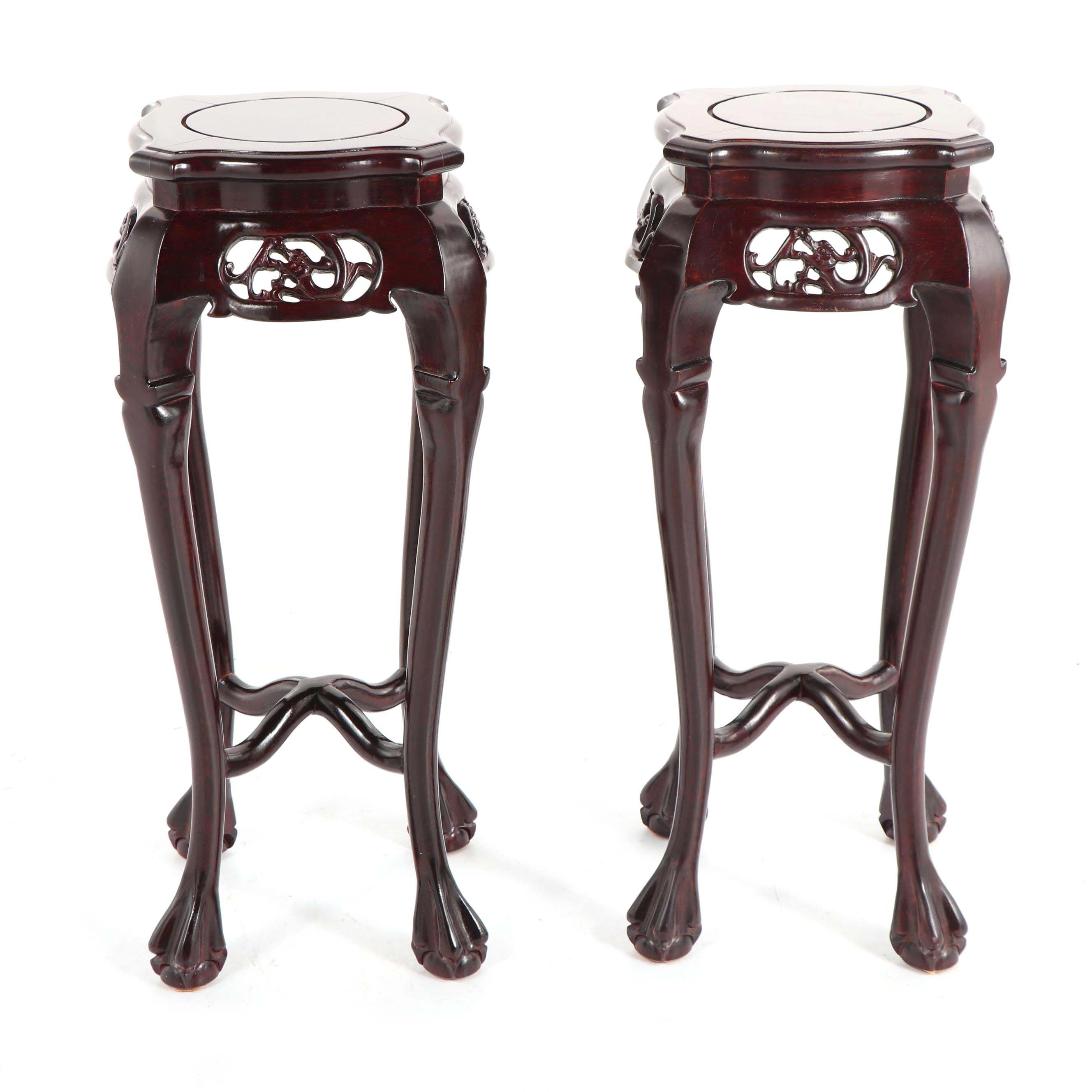 Chinese Rosewood Plant Stands, Late 20th Century