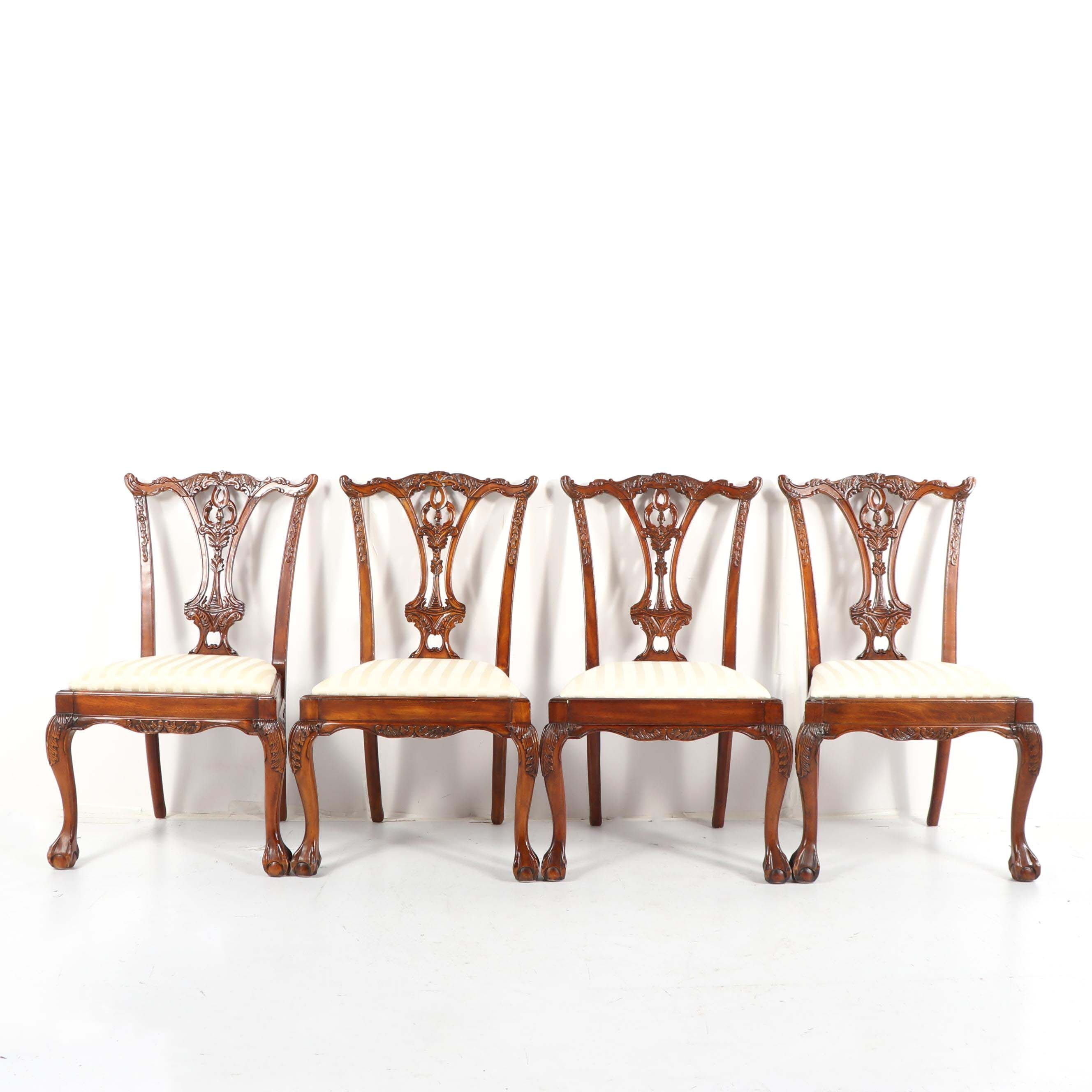 Federal Style Carved Wood Side Chairs, Late 20th Century