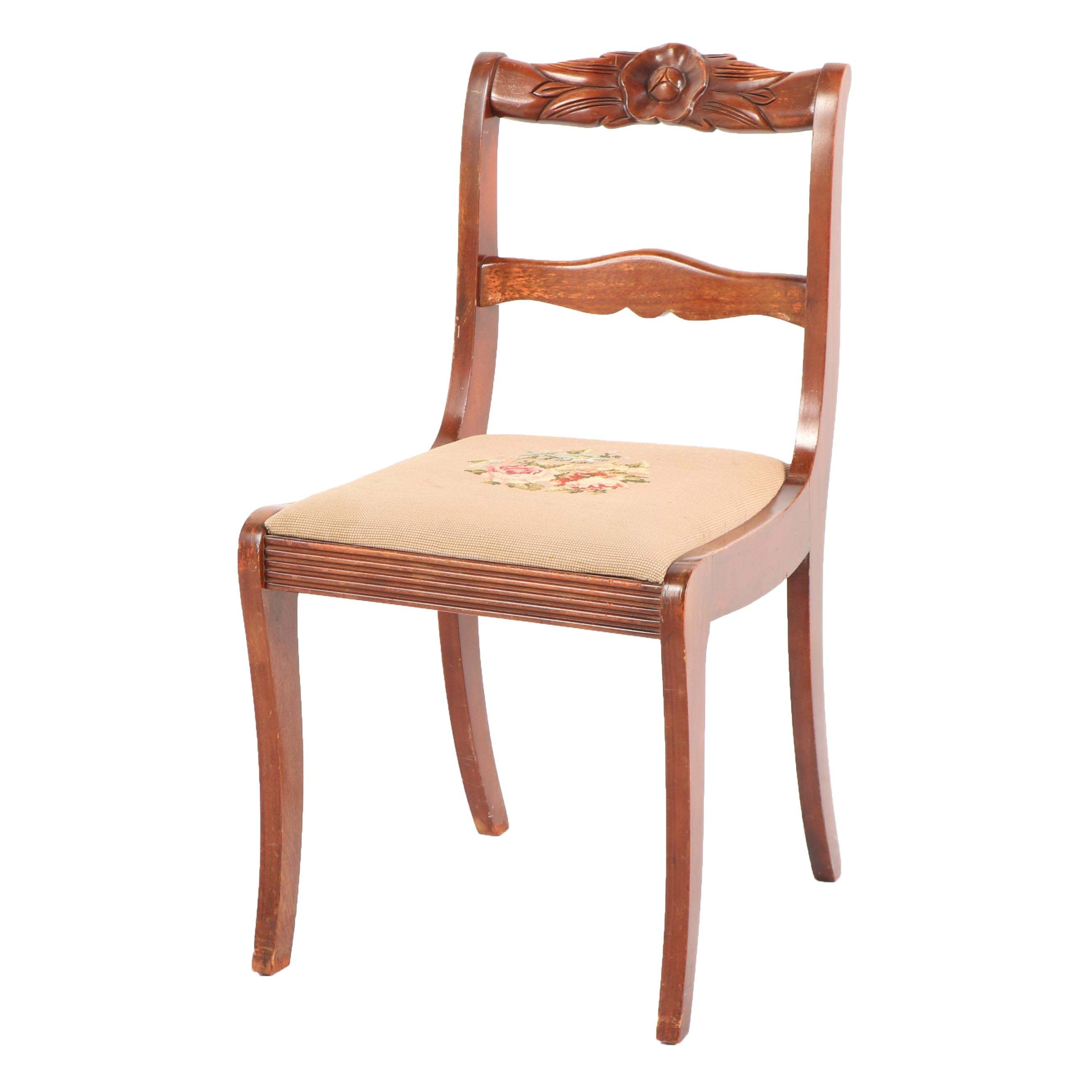 Victorian Style Walnut Side Chair with Needlepoint Seat, Mid-20th Century