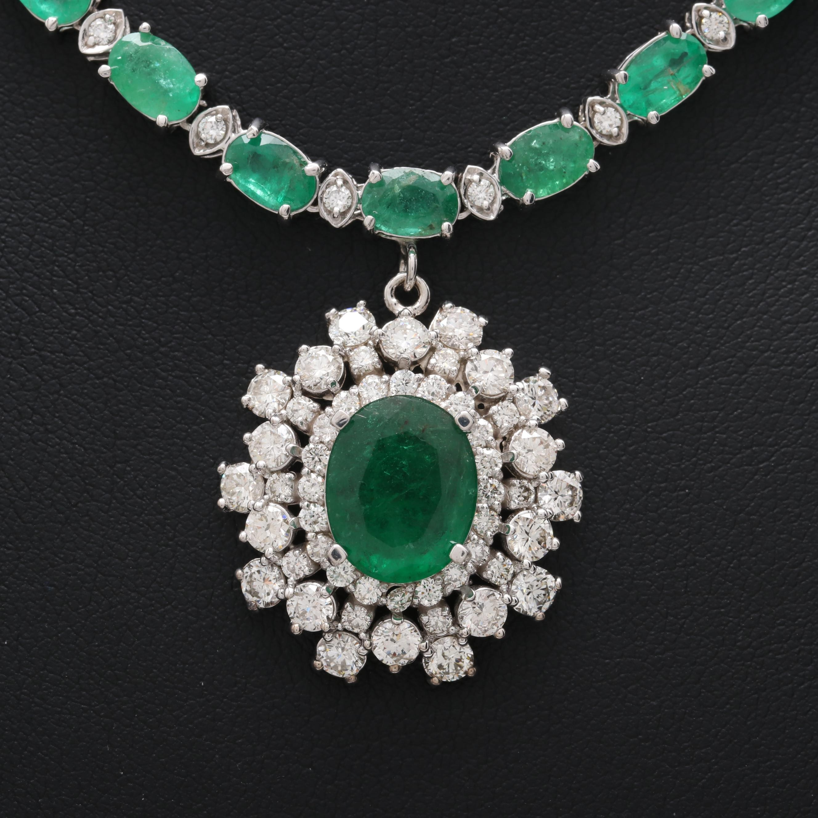 14K White Gold 2.31 CT Center Emerald and 3.72 CTW Diamond Necklace