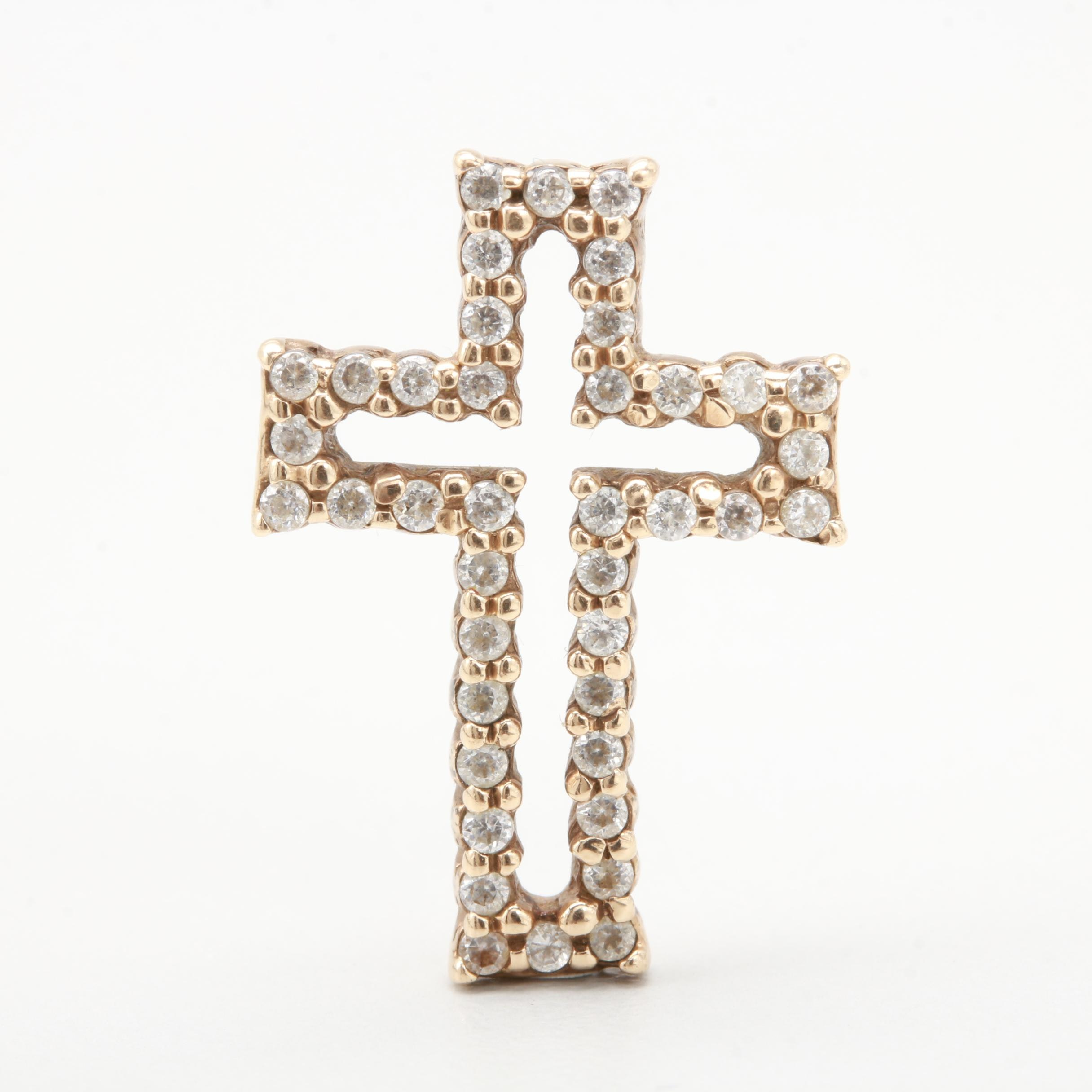 10K Yellow Gold Cubic Zirconia Cross Pendant