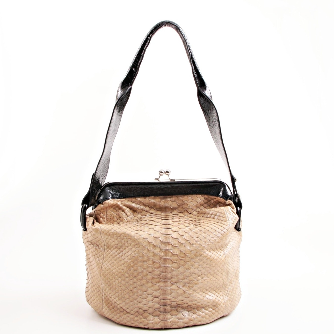 Devi Kroell Taupe Python and Black Patent Leather Frame Bucket Bag