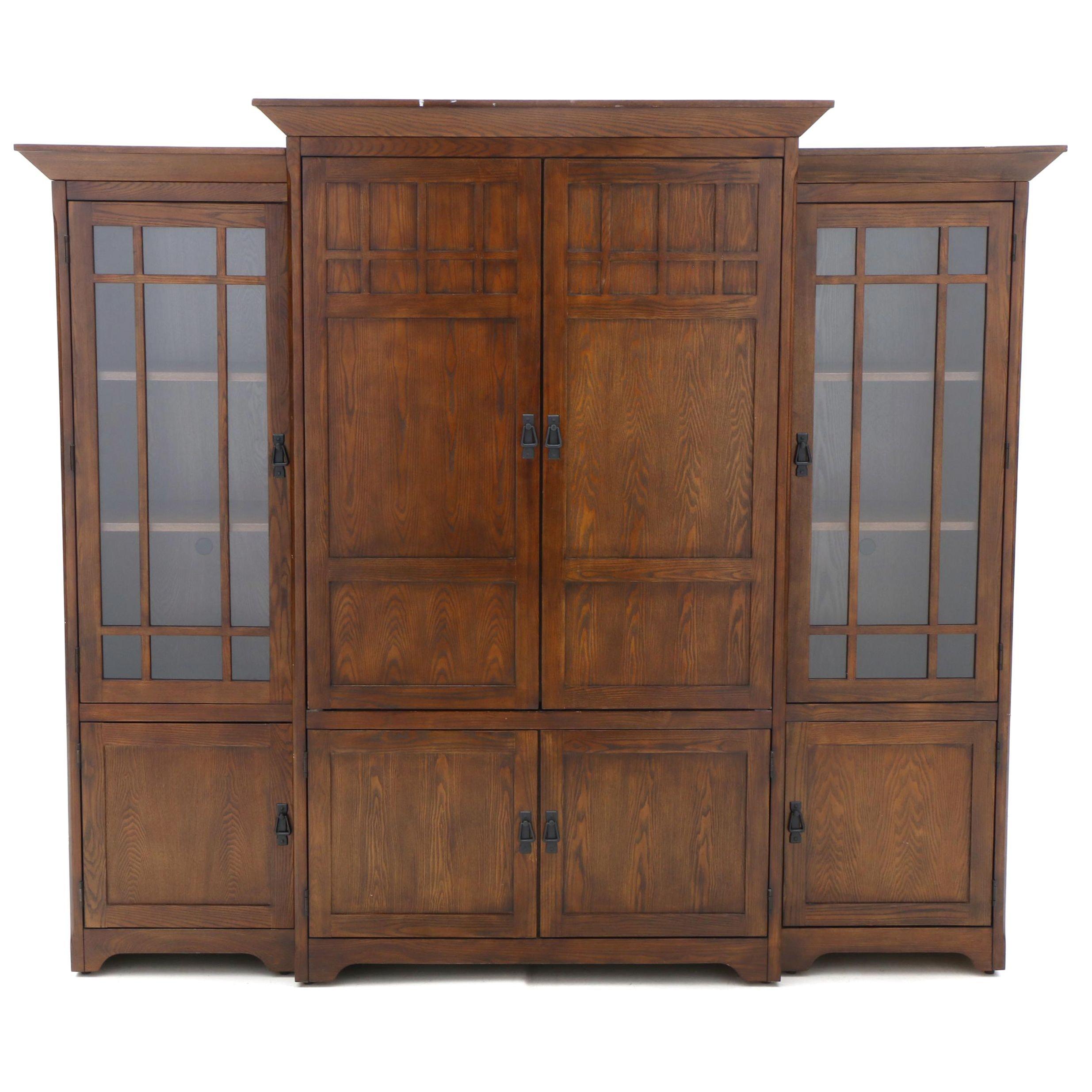 Arts and Crafts Style Oak Three Piece Media Cabinet, 21st Century