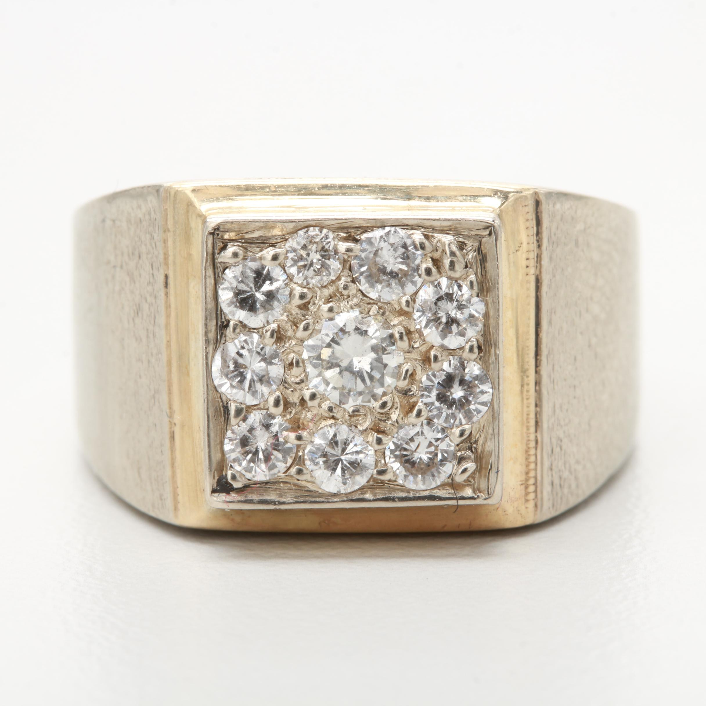 14K White Gold Diamond Ring with Yellow Gold Accent