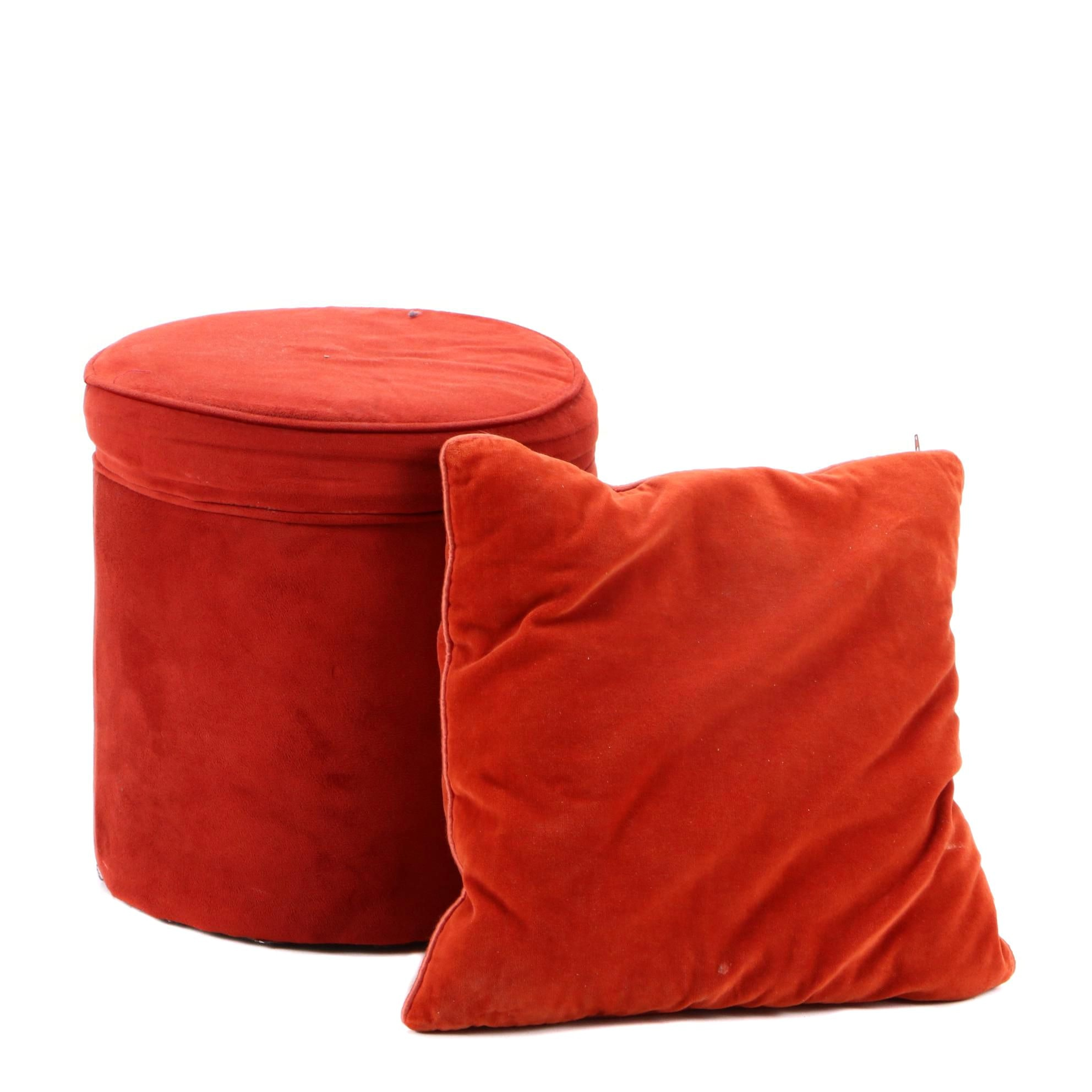 Contemporary Round Storage Footstool and Pillow
