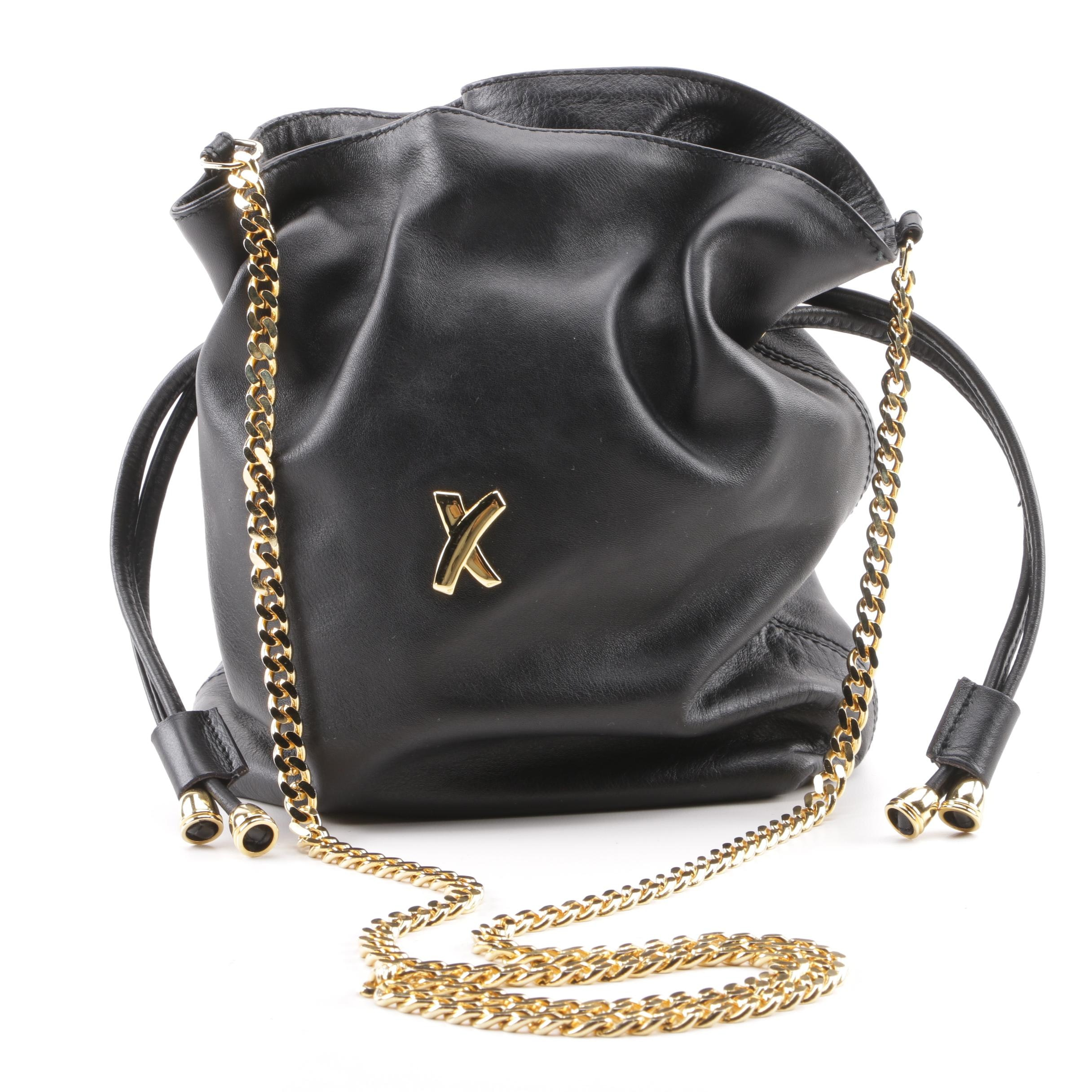 Paloma Picasso Black Leather Drawstring Shoulder Bag, Made in Italy