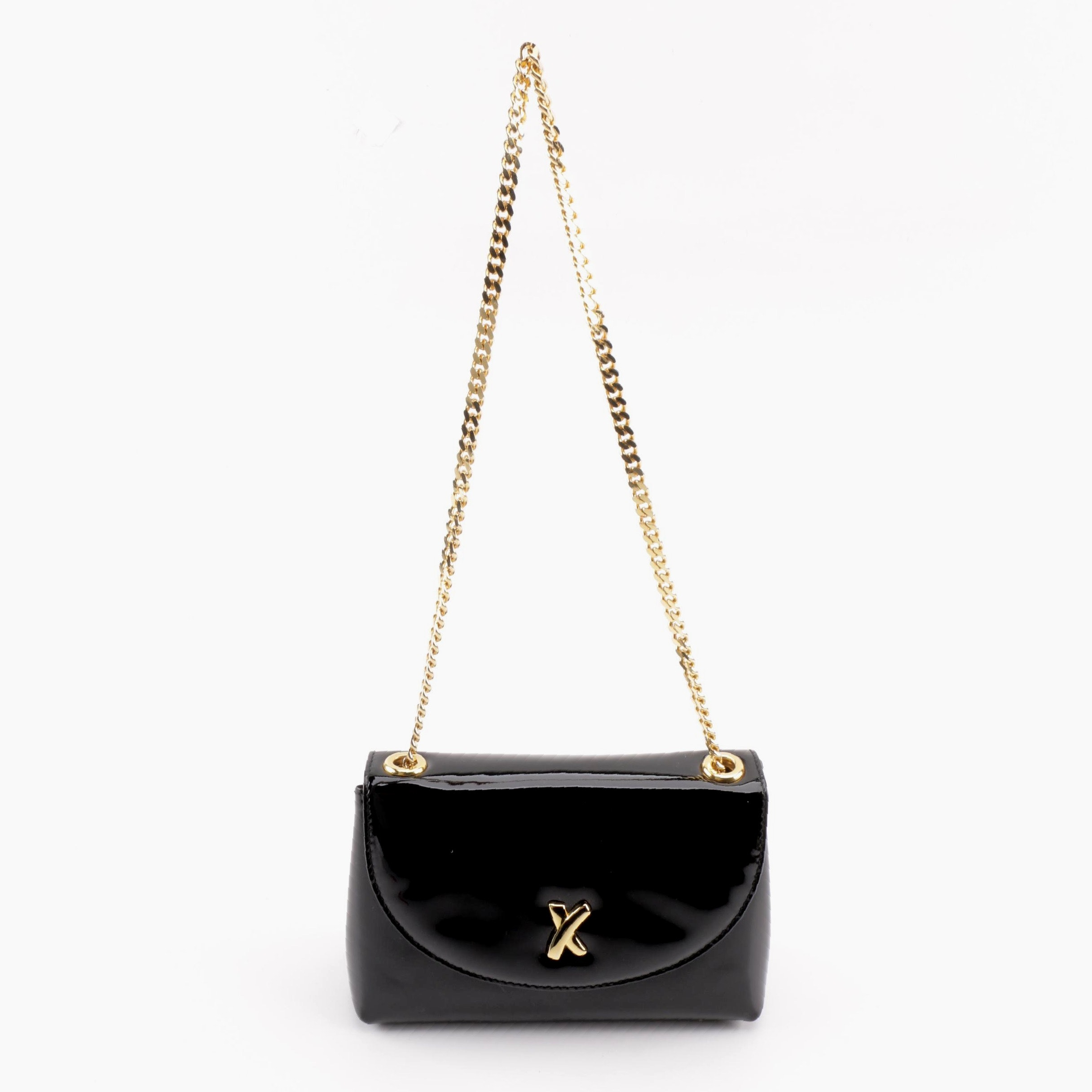 Paloma Picasso Black Patent Leather Shoulder Bag