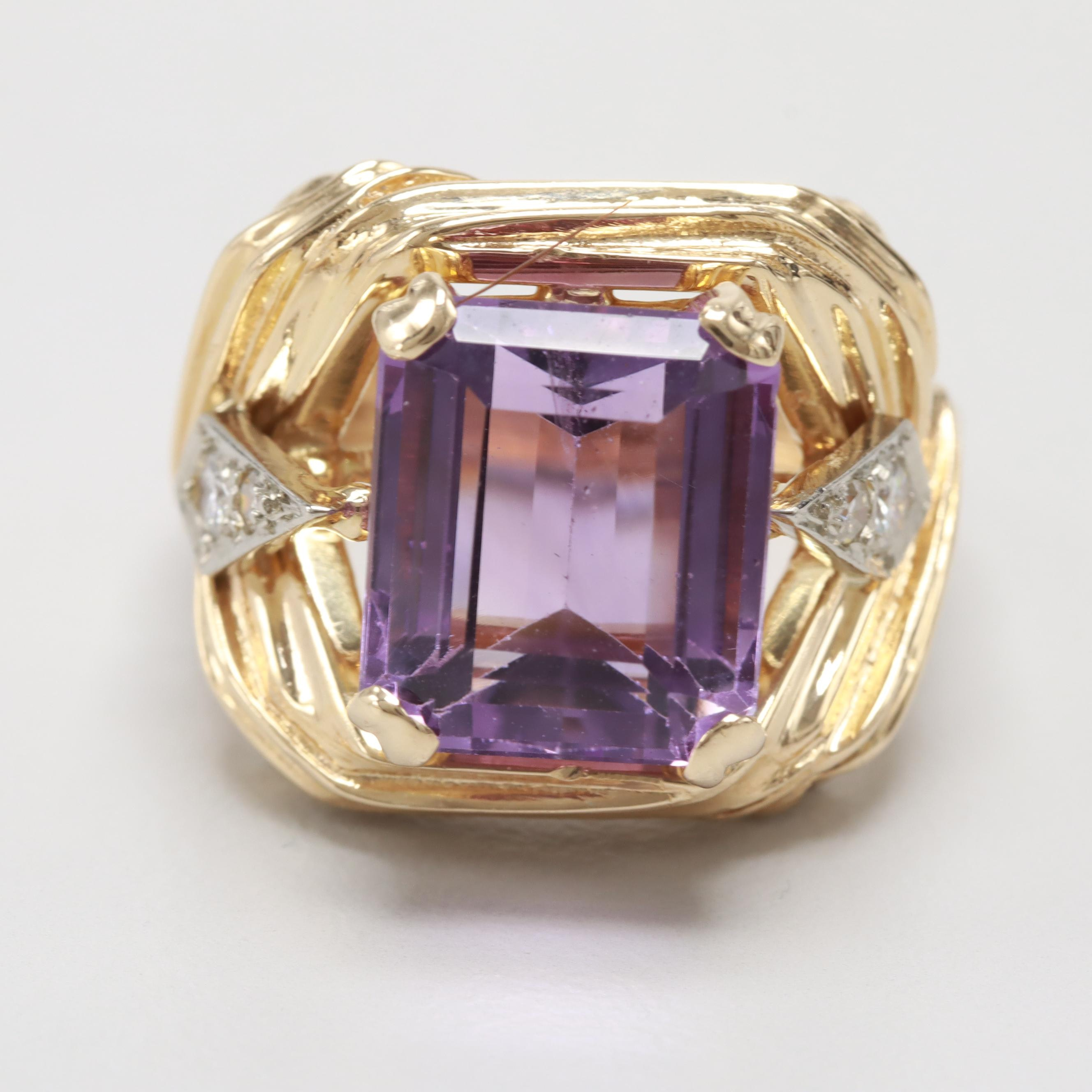 14K Yellow Gold 4.49 CT Amethyst and Diamond Ring