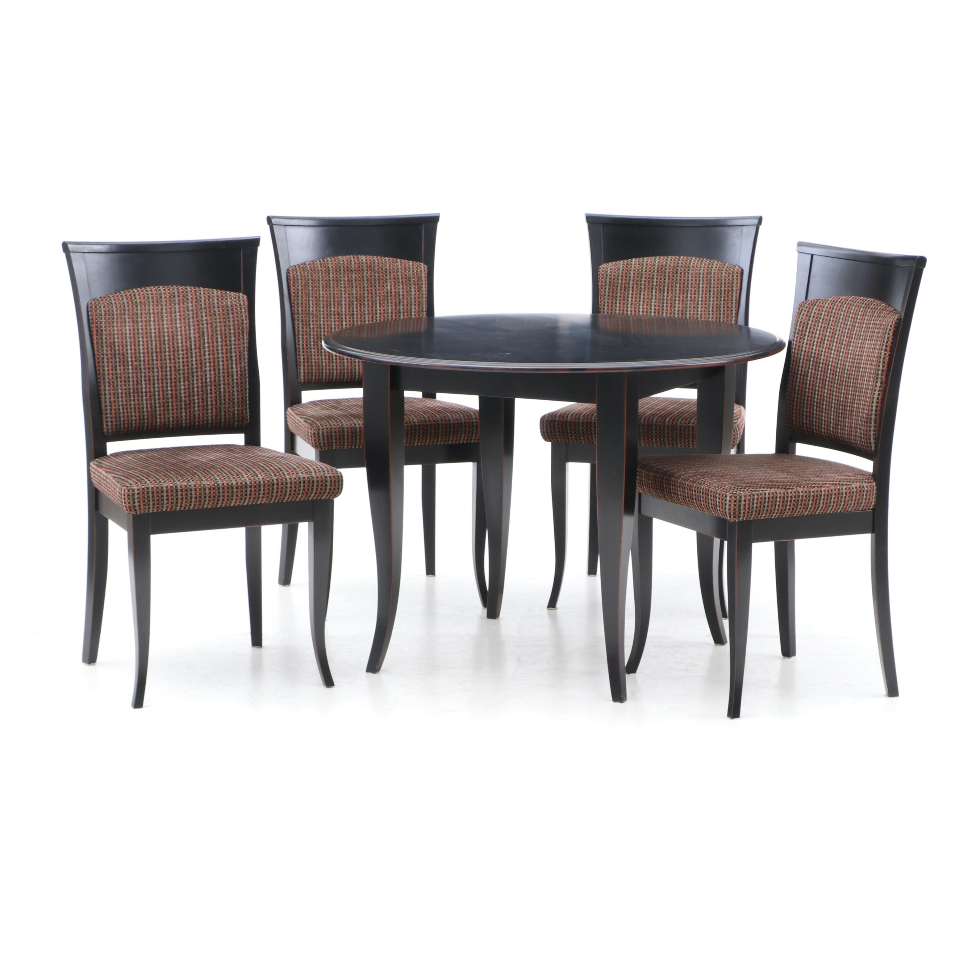 Contemporary Painted Wood Dining Table with Side Chairs by Dinec