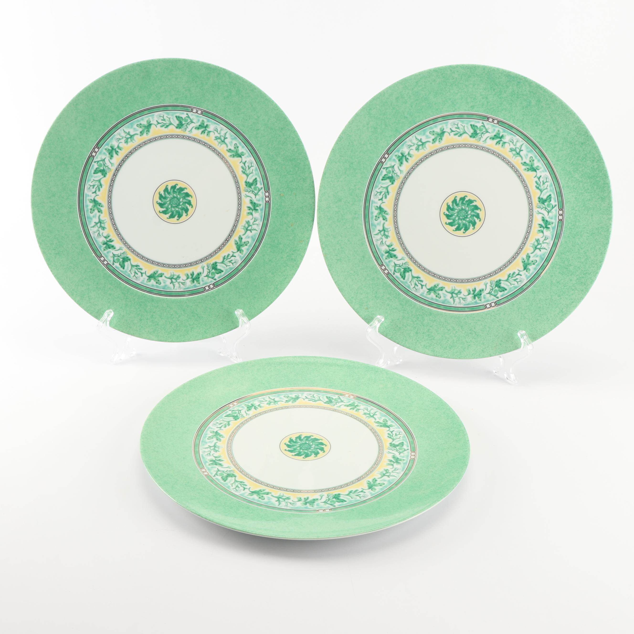 "Christofle ""Alliance Vert Floral"" Porcelain Platters"
