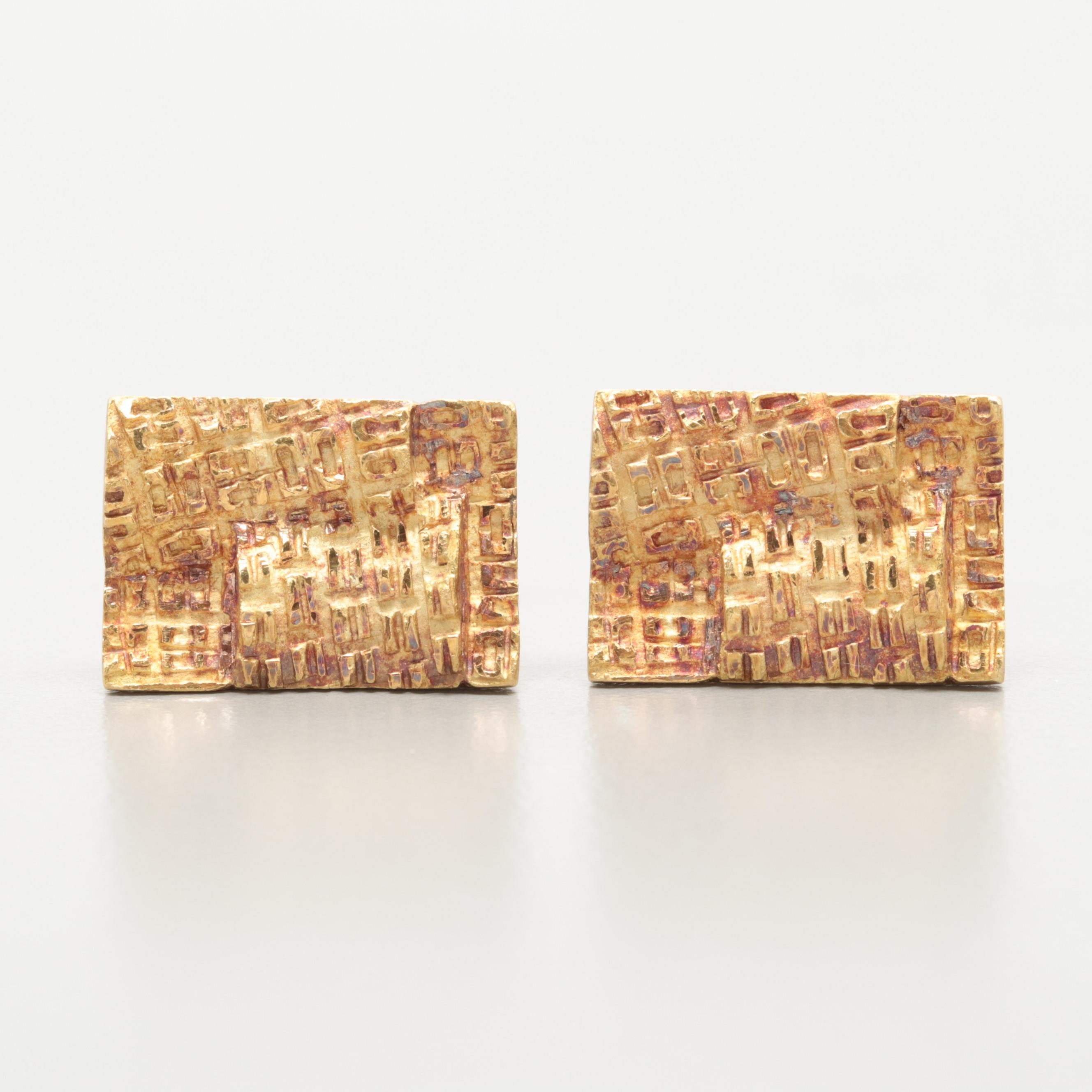 Vintage 18K Yellow Gold Cuff Links