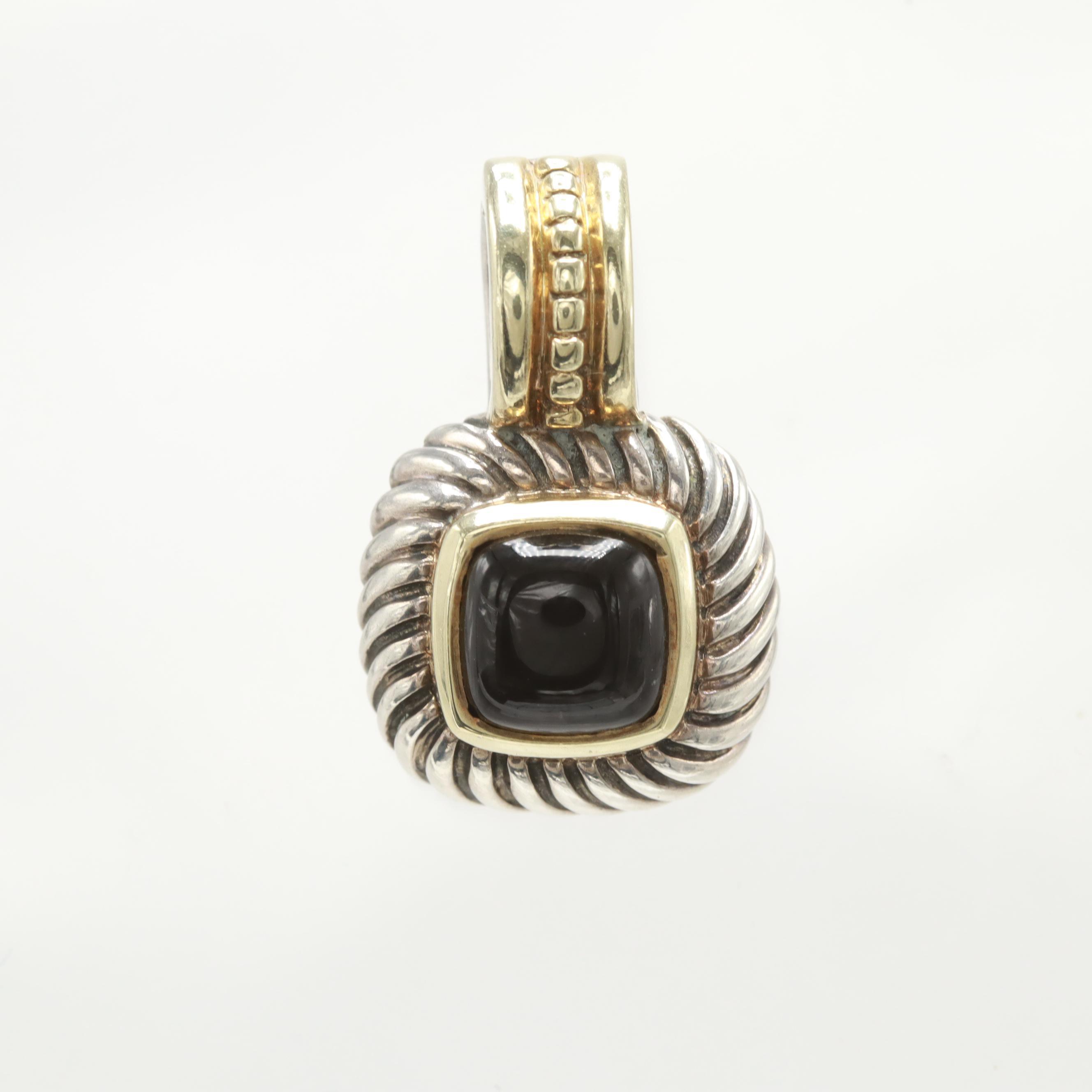 David Yurman Sterling Silver and 14K Yellow Gold Black Onyx Pendant