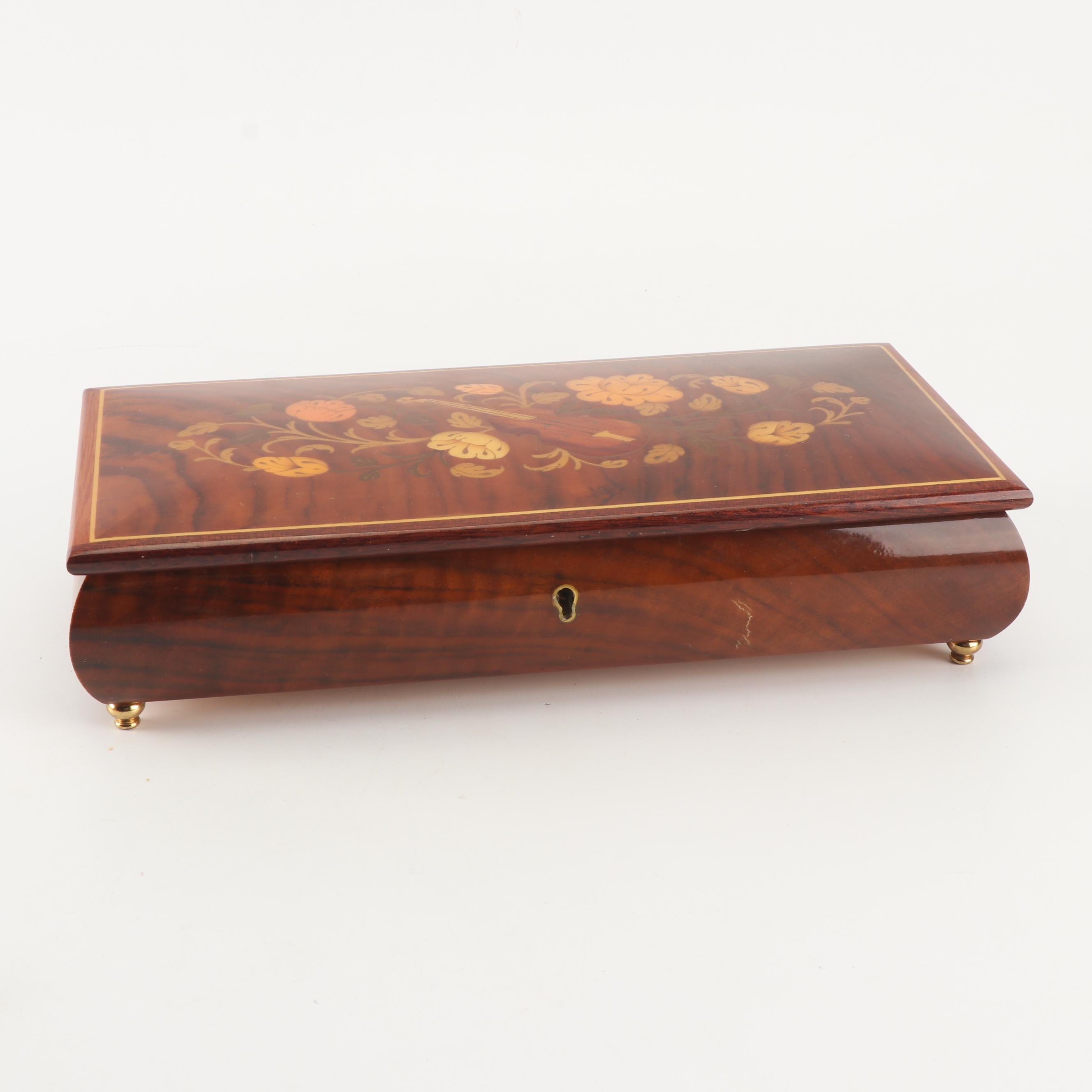 "Italian Inlaid Wooden Musical ""Edelweiss"" Jewelry Box"