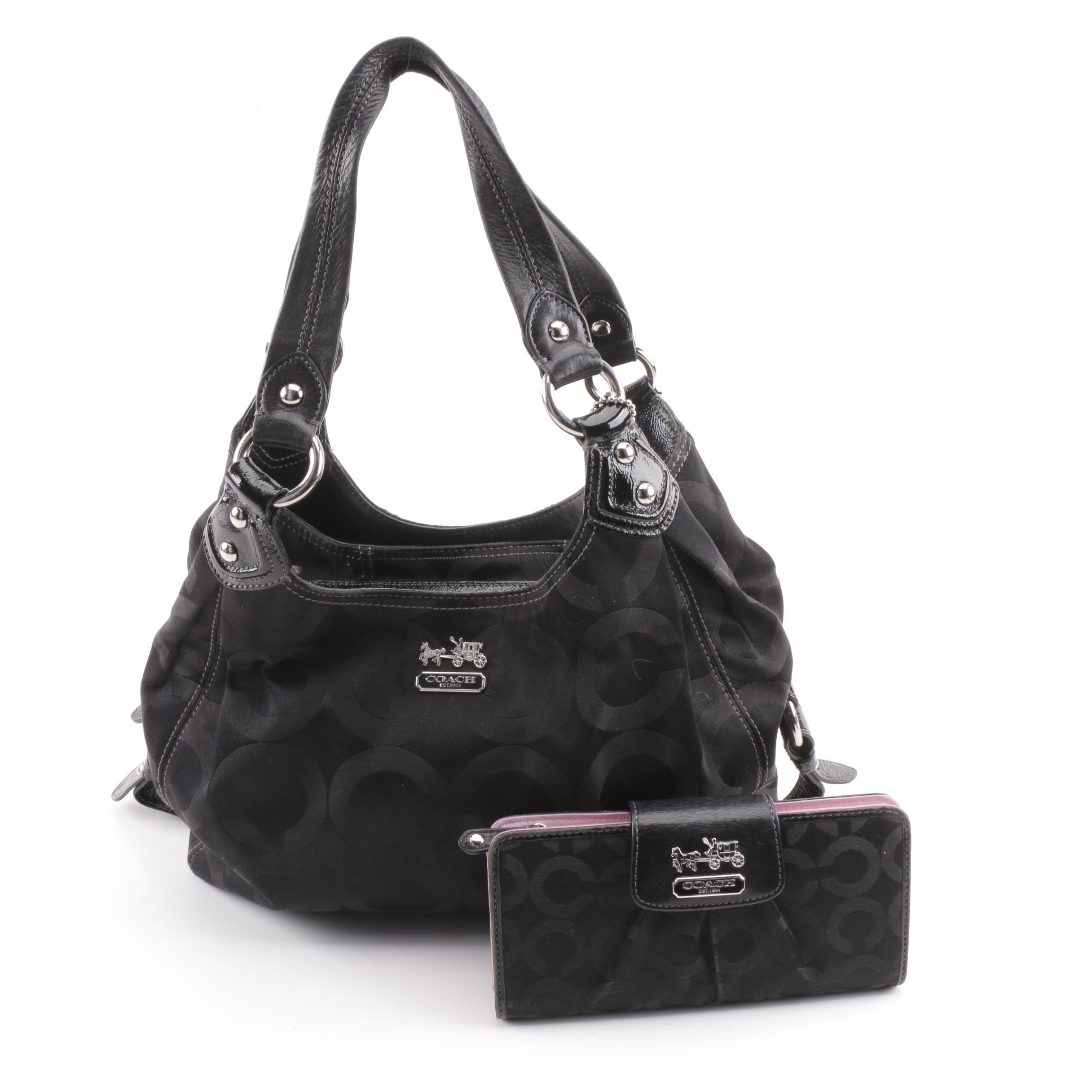 Coach Madison Op Art Maggie Black Shoulder Bag with Matching Wallet