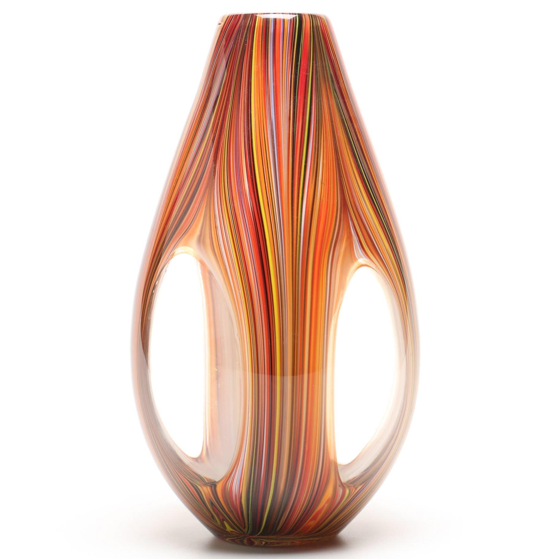 Murano Style Blown Glass Vase