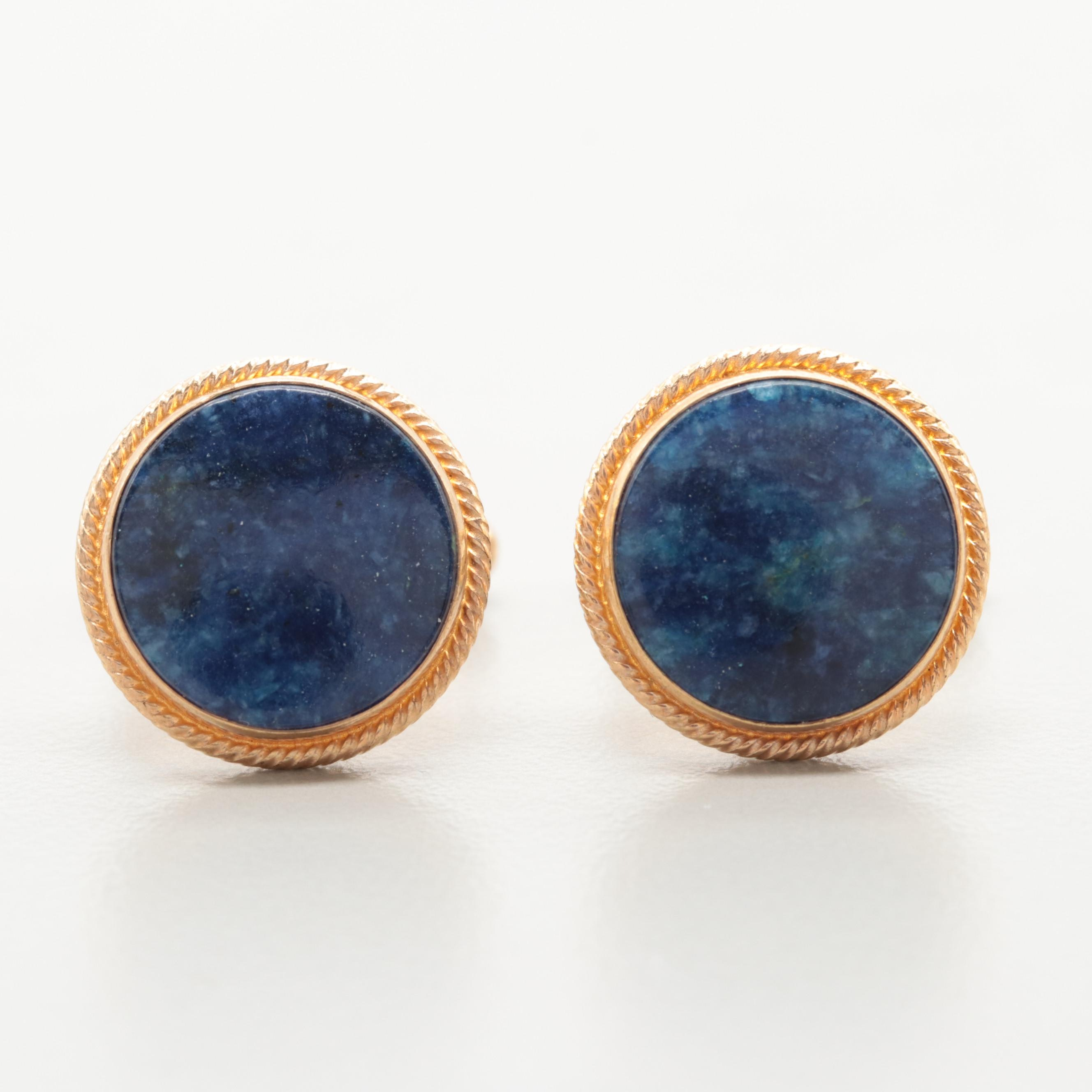 Gold Tone Sodalite Cuff Links