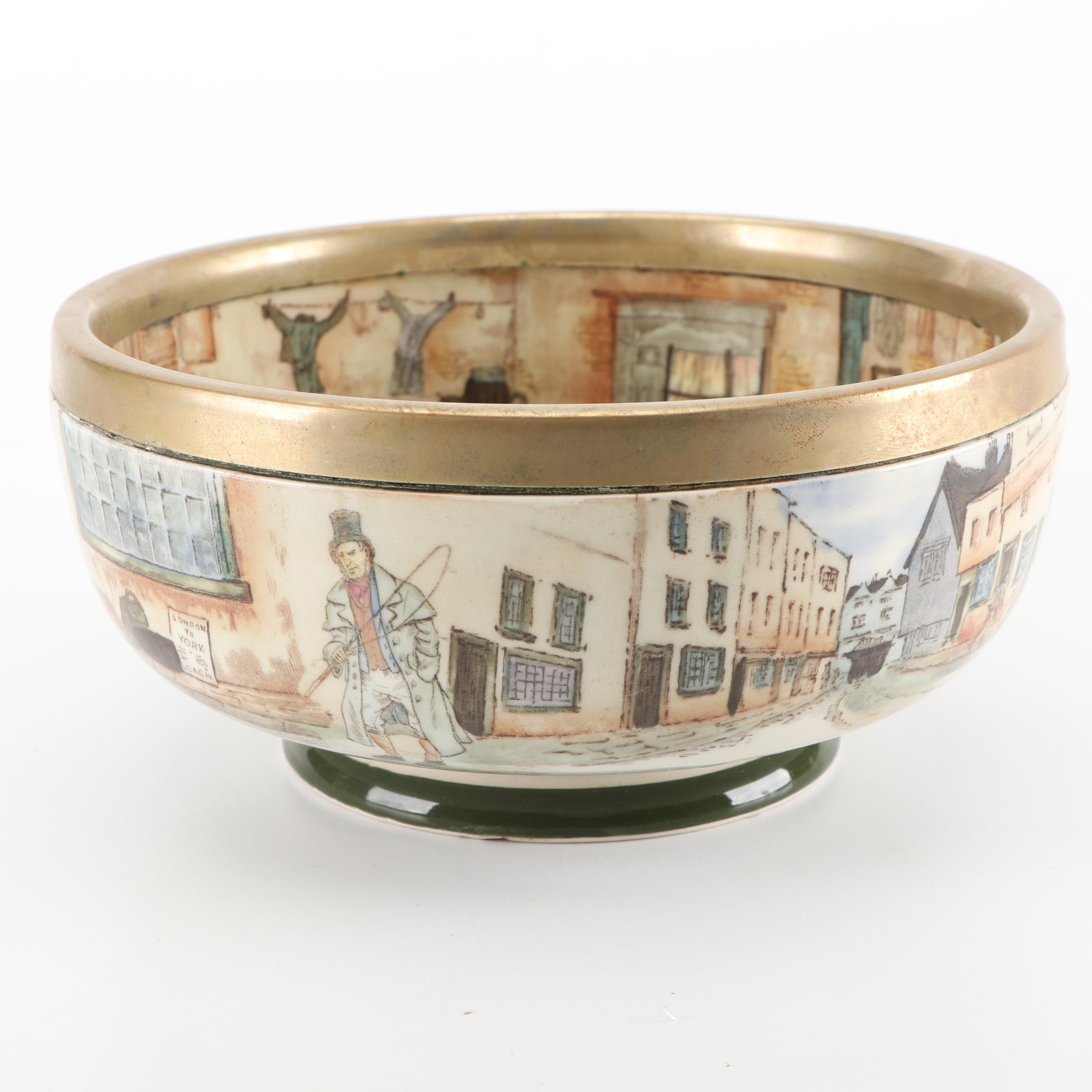 """Royal Doulton """"Dickens Ware"""" Bowl with Silver Plate Rim"""