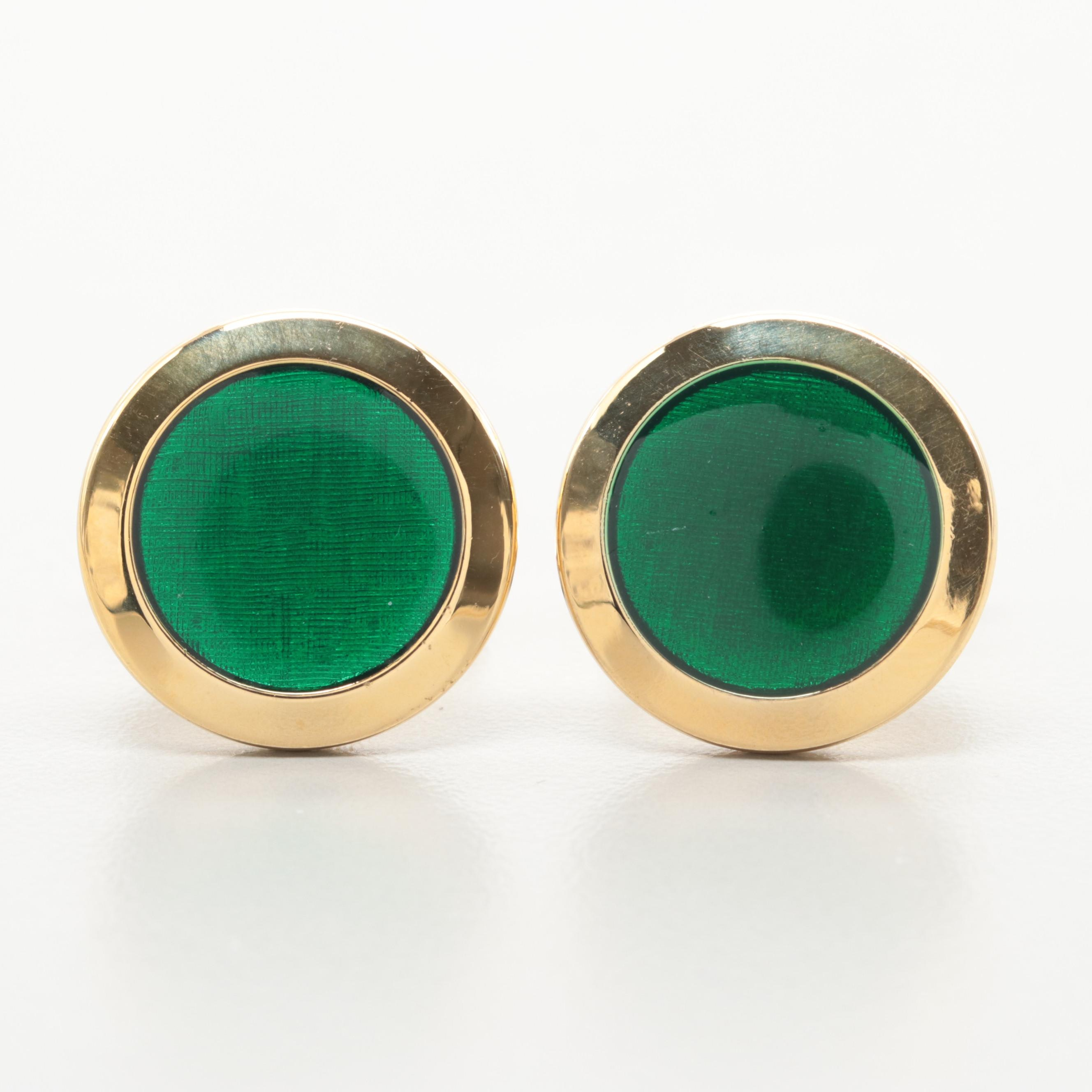 Gold Tone Green Enamel Cuff Links