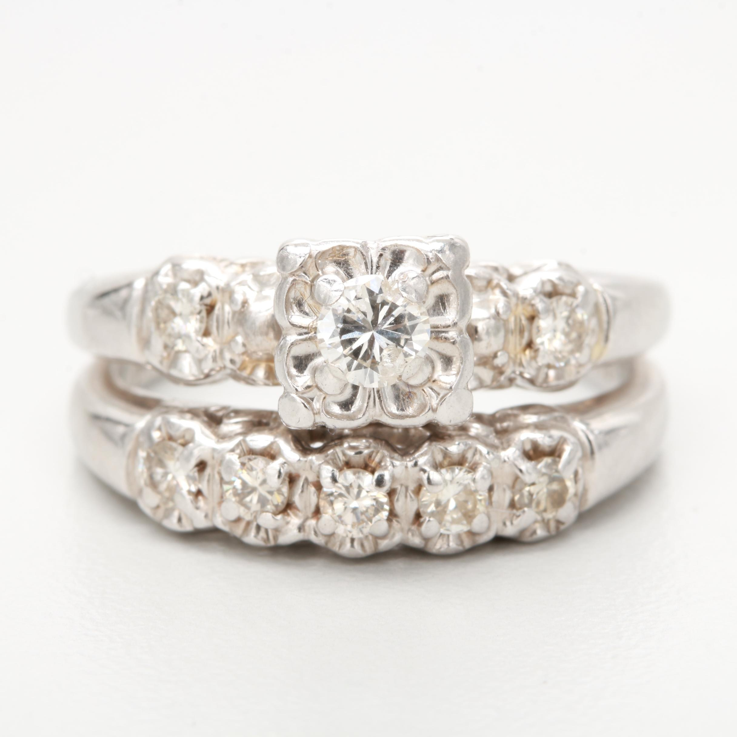 Circa 1940s 14K White Gold Diamond Bridal Set