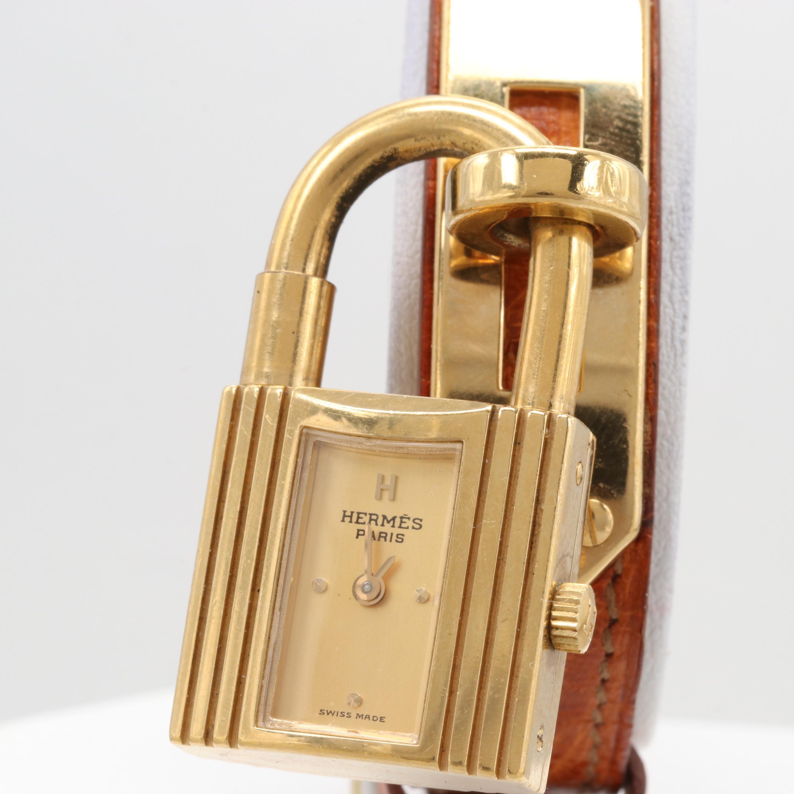 "Hermès Paris Gold Plated ""Kelly"" Padlock Wristwatch"