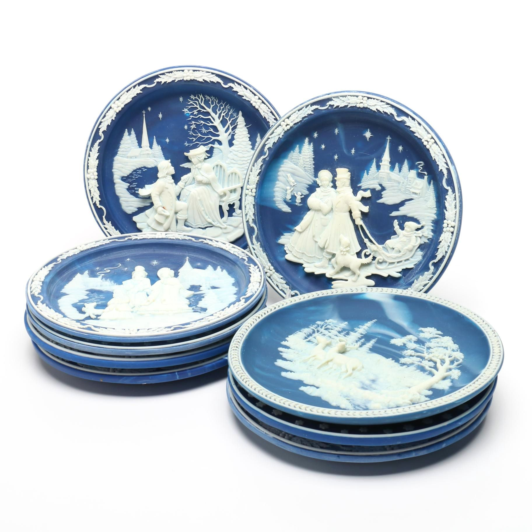 Christmas and Winter Scene Incolay Stone Decorative Plates
