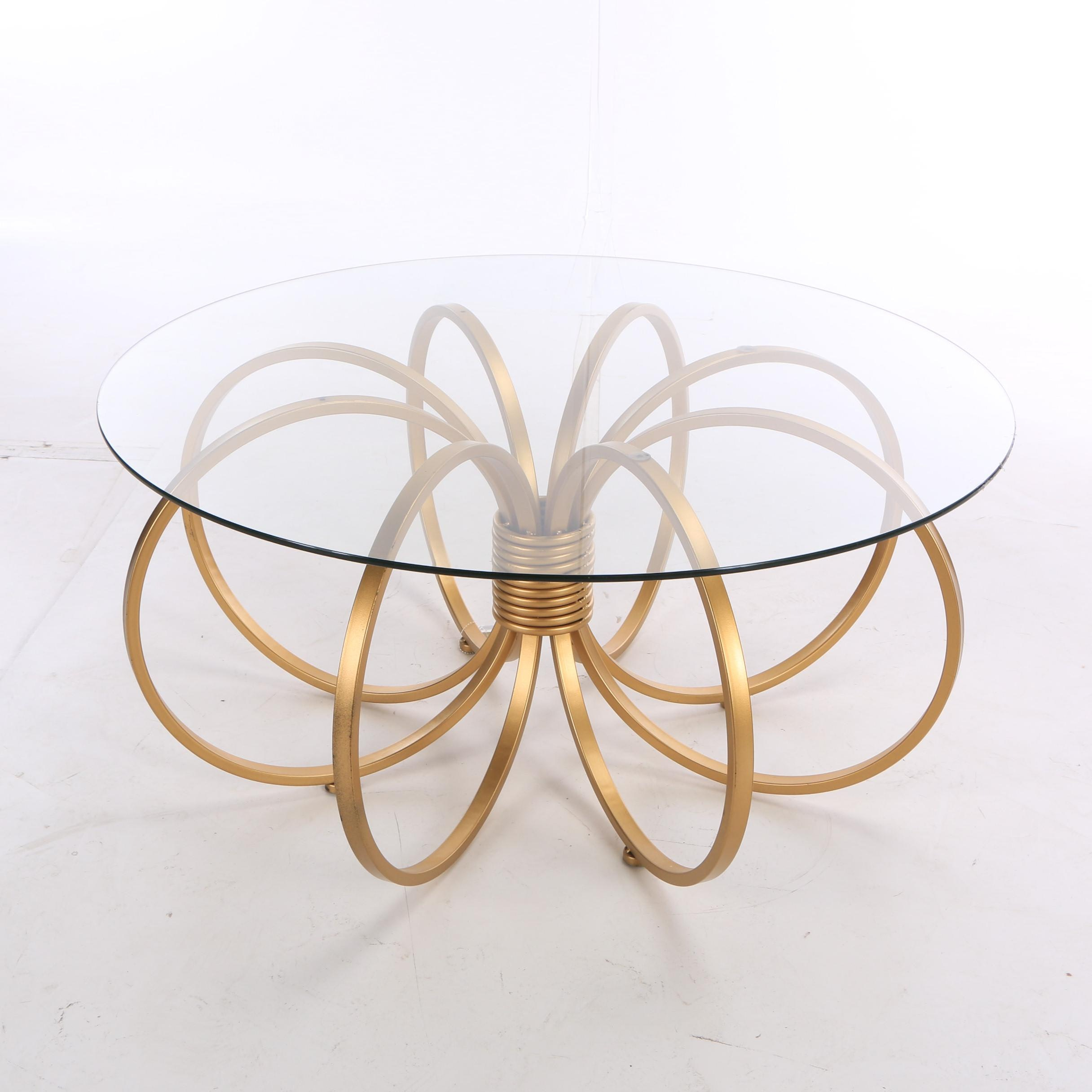 Modern Style Glass Top Gold Tone Metal Table, 21st Century