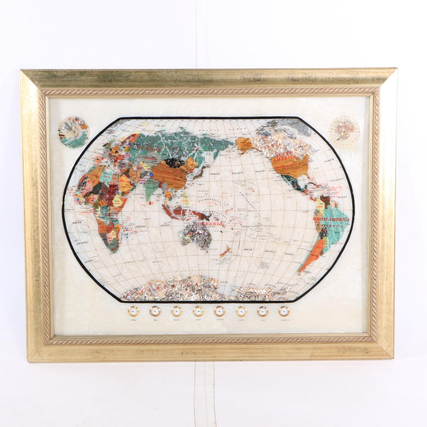 Gemstone World Map.Framed Semi Precious Gemstone World Map With World Time Clocks Ebth