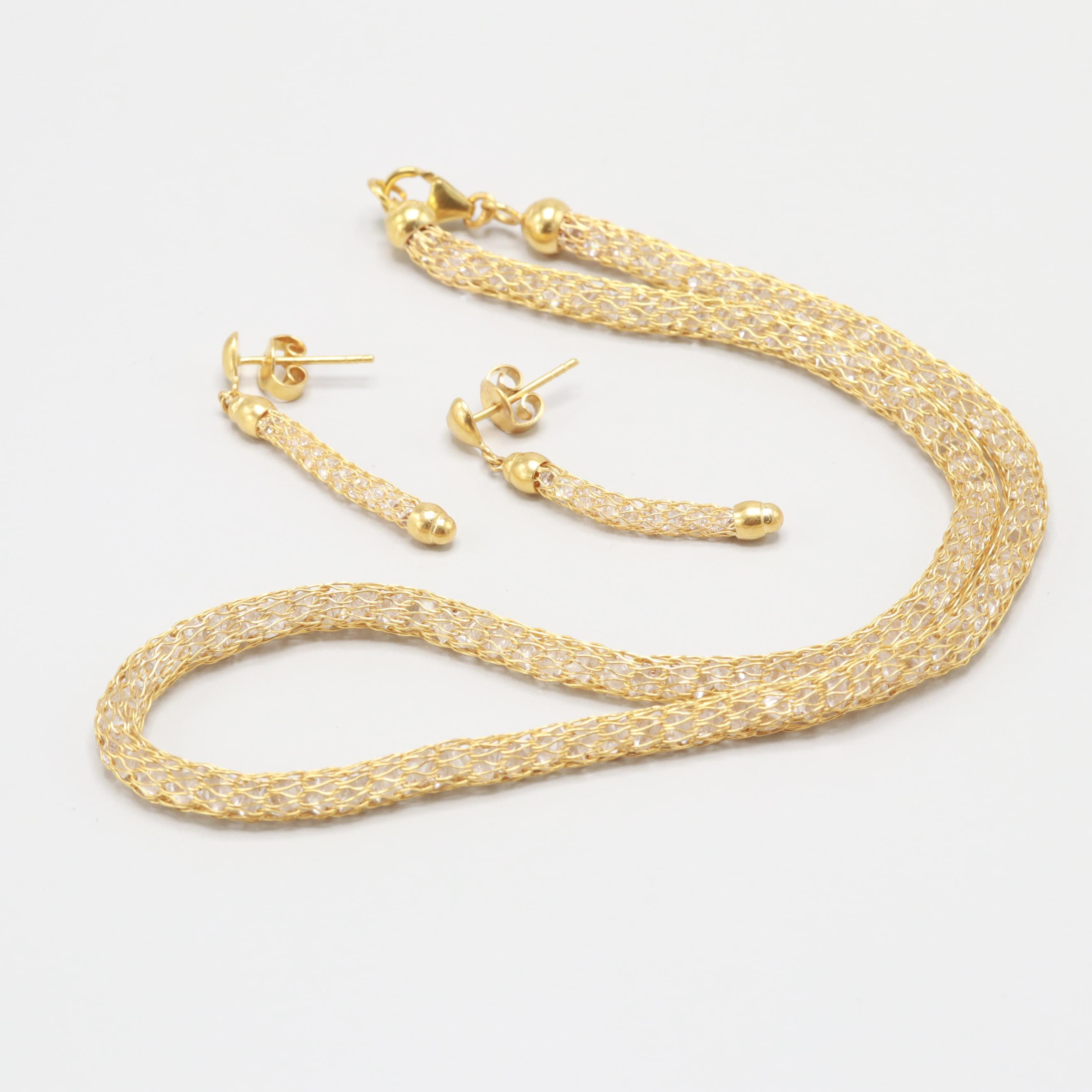 18K Yellow Gold Cubic Zirconia Necklace and Earrings