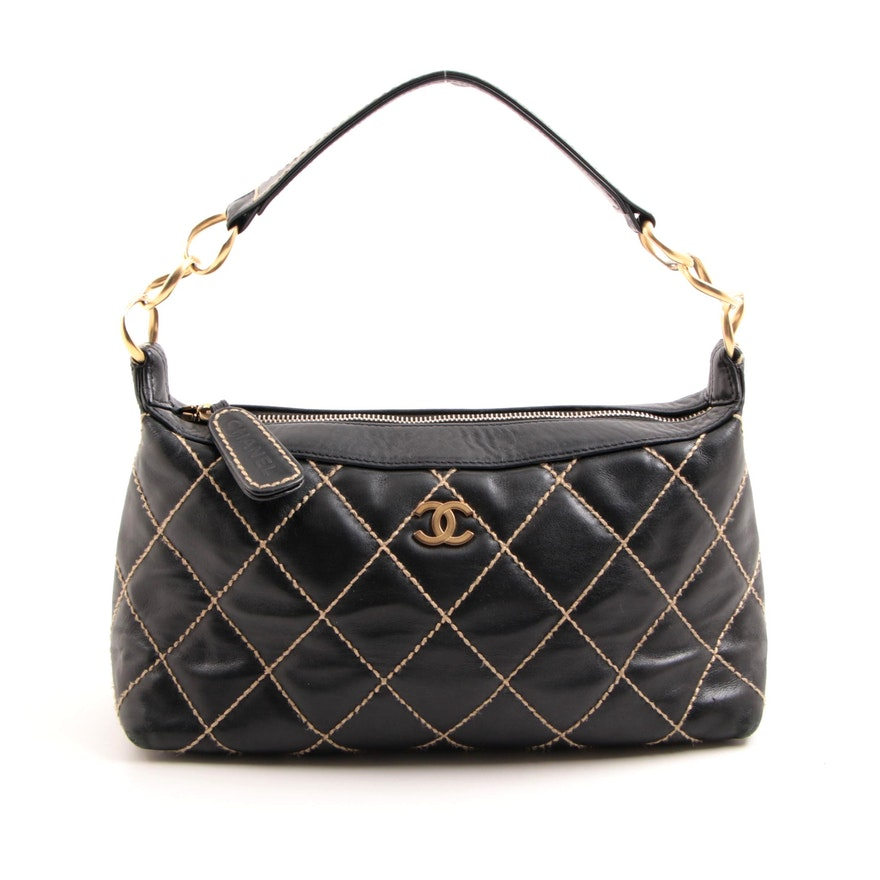 f21d13ead631 Chanel Quilted Wild Stitch Lambskin Handbag with Gold Hardware : EBTH