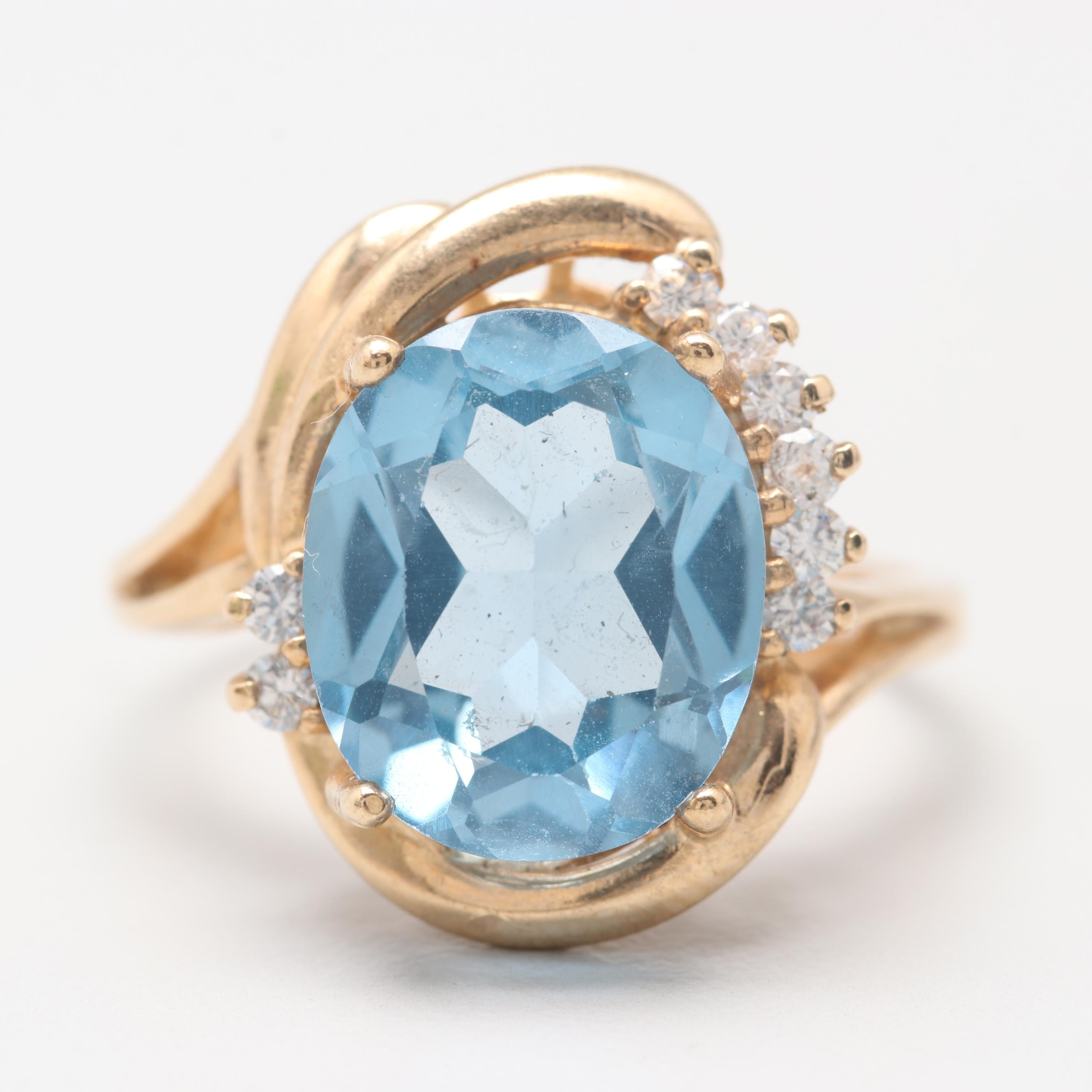 10K Yellow Gold Synthetic Spinel and Cubic Zirconia Ring