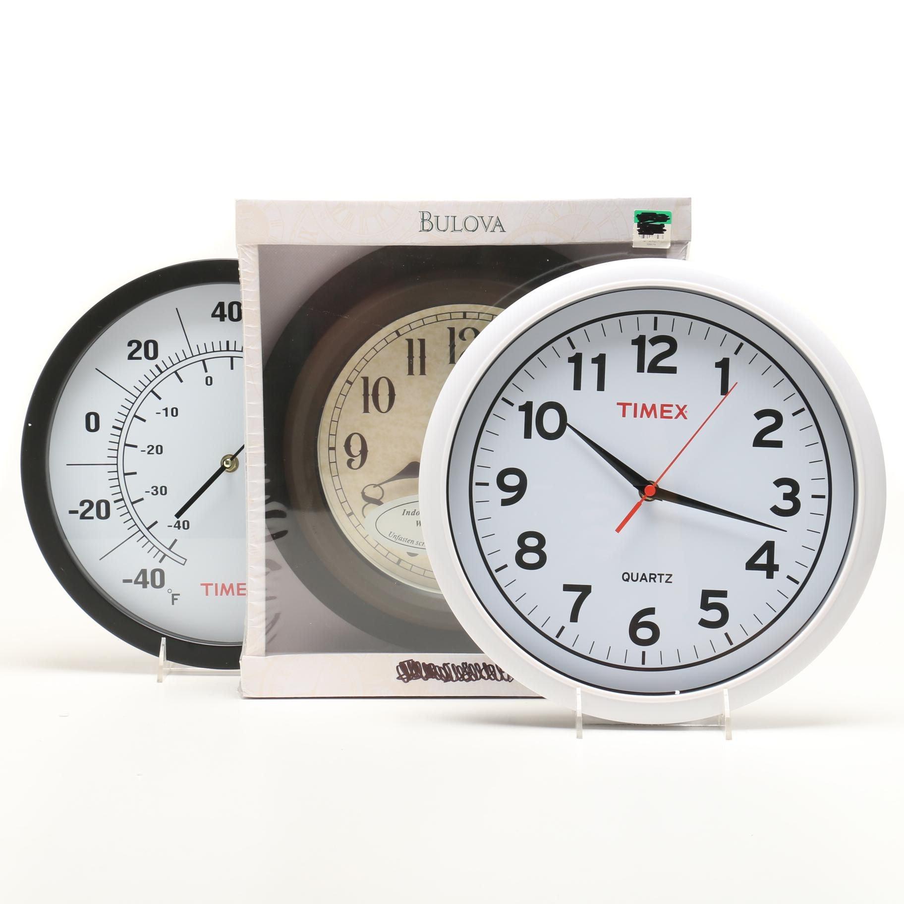 Wall Clocks Featuring Bulova