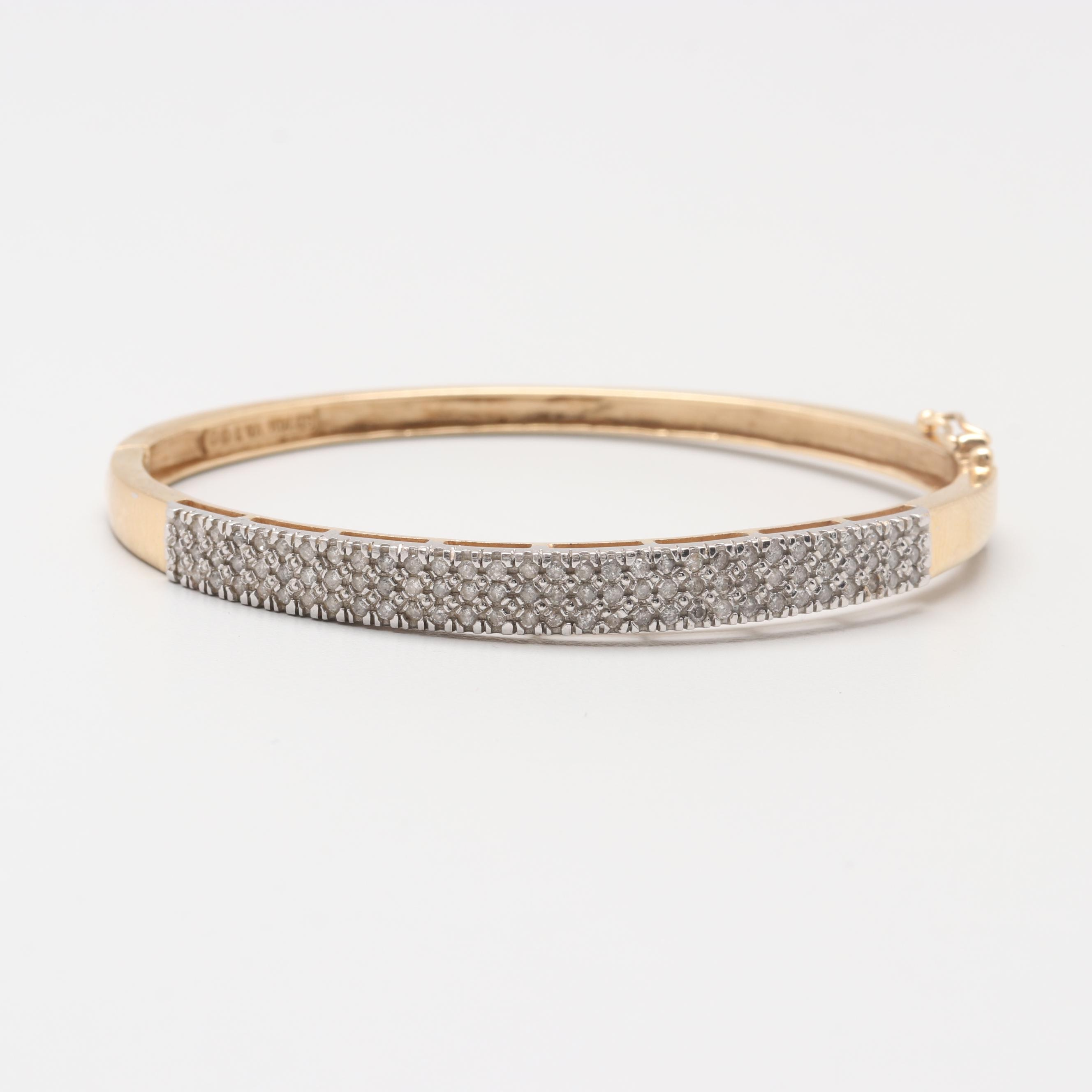 14K Yellow Gold 1.12 CTW Diamond Hinged Bracelet