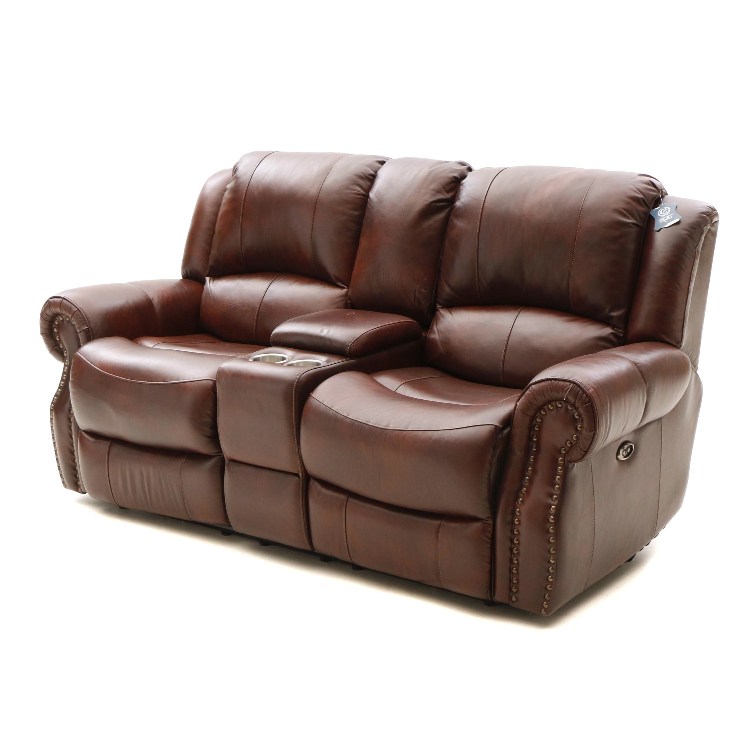 Contemporary Bonded Leather Home Theater Reclining Love Seat by Furniture Fair
