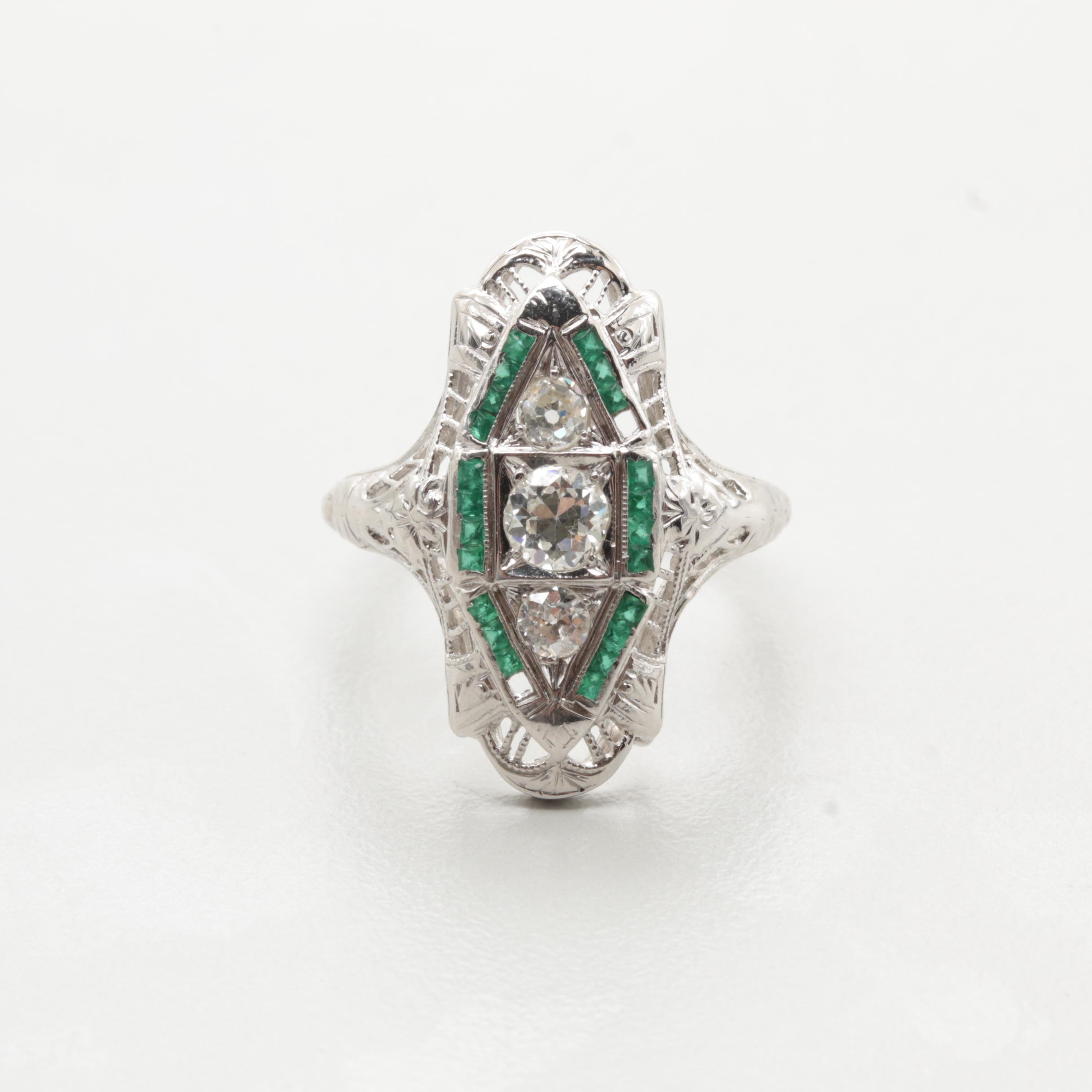 Art Deco 18K White Gold Diamond and Emerald Ring