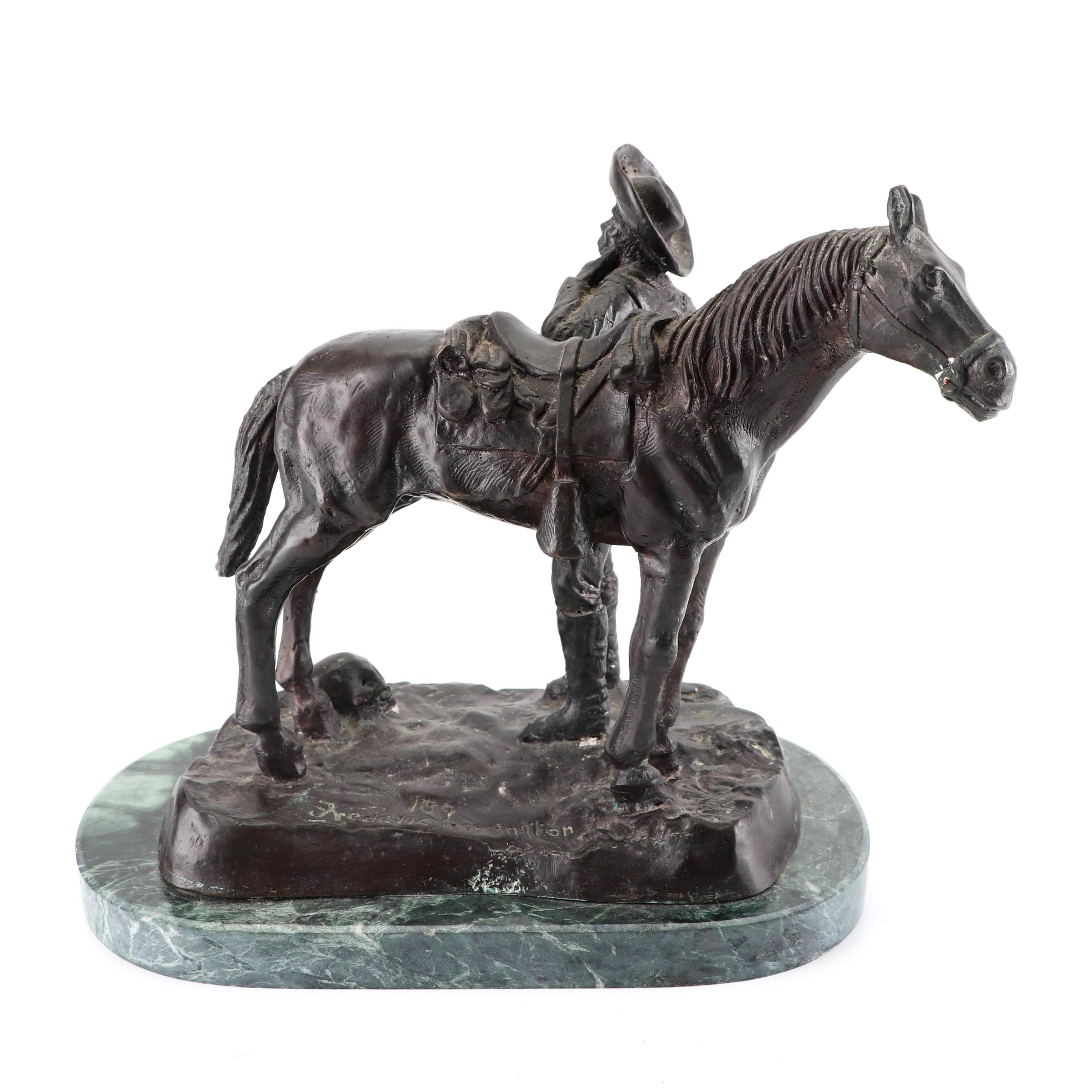 "Bronze Sculpture after Fredric Remington ""Trooper Thanatopis"""