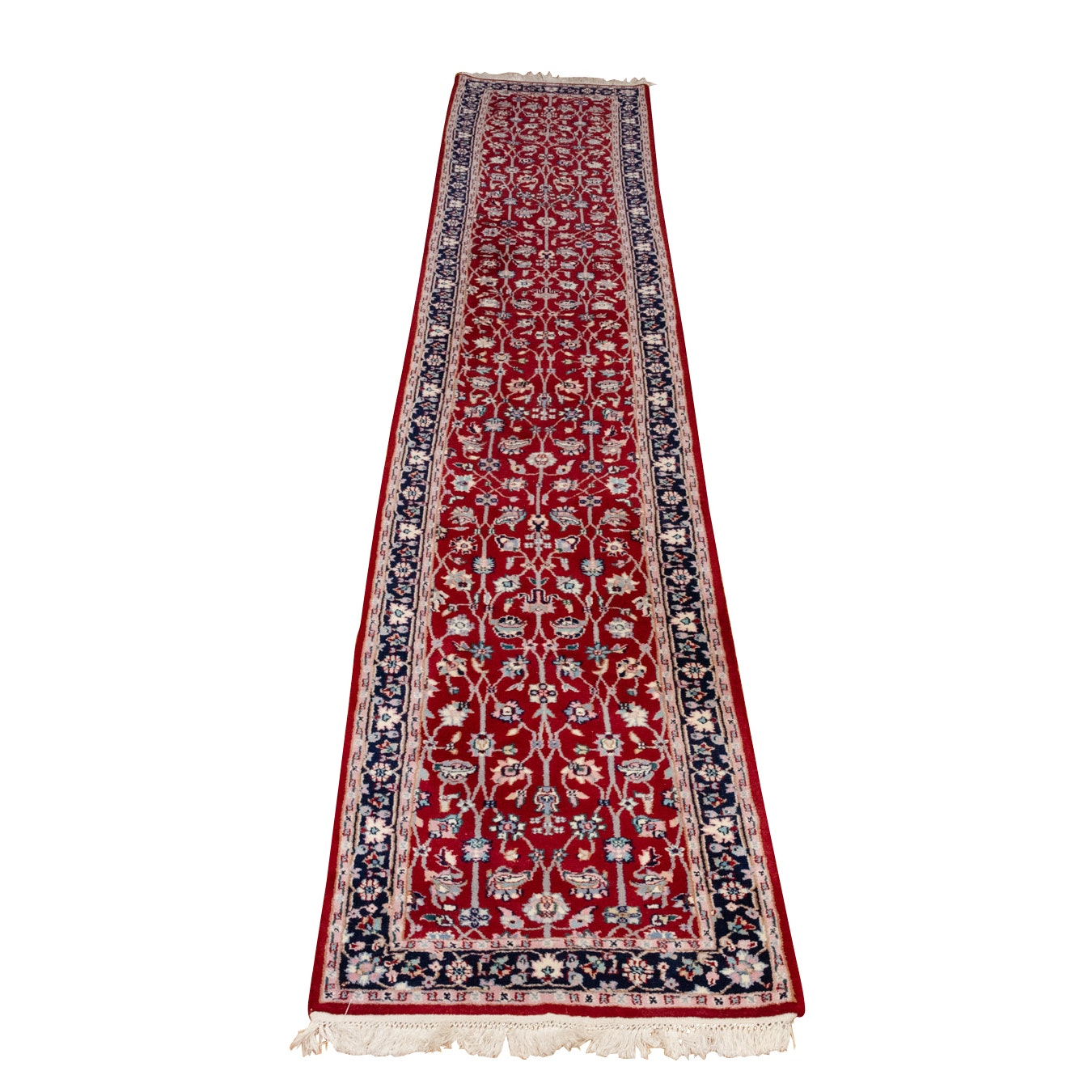 Hand-Knotted Indo-Persian Tabriz Wool Carpet Runner