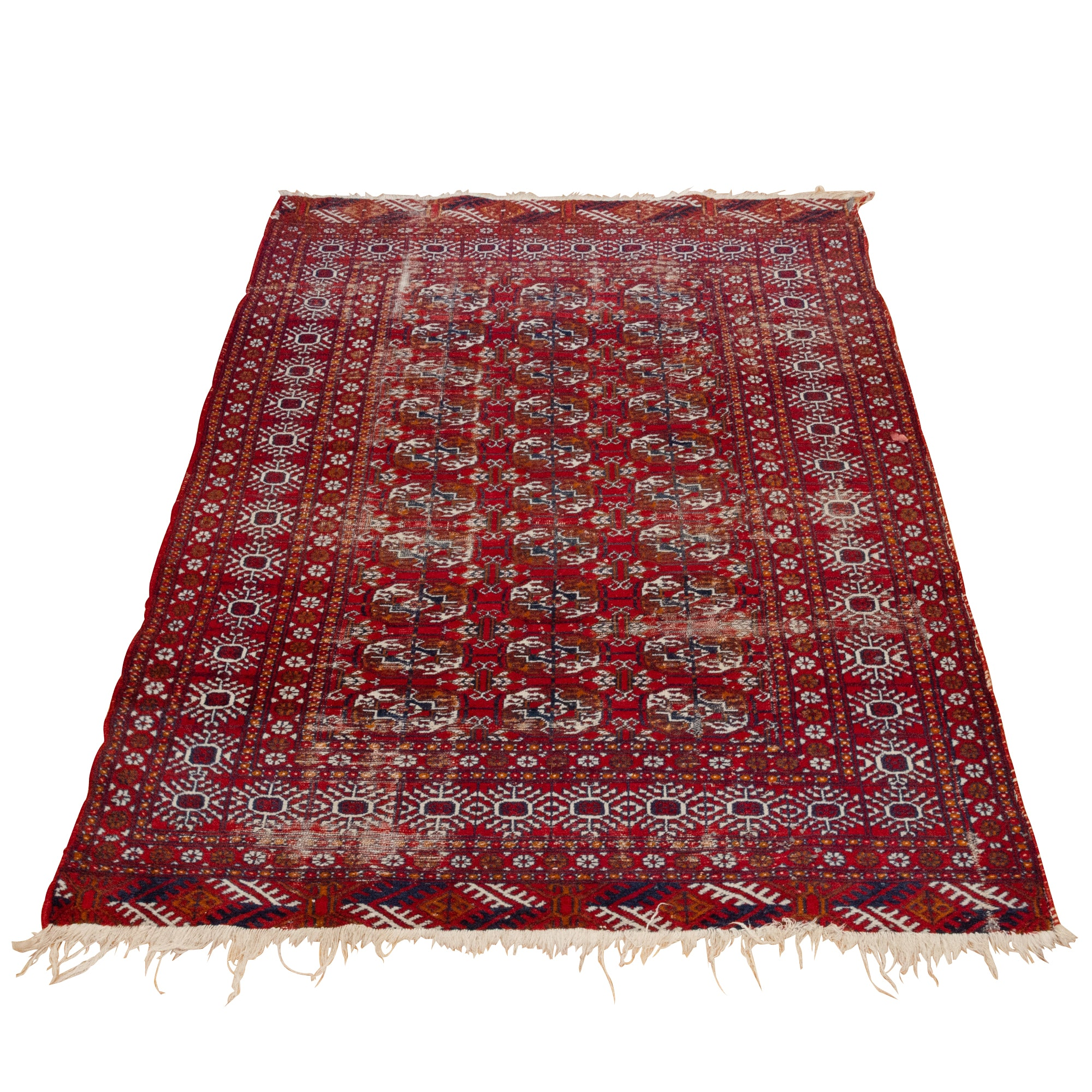 Semi-Antique Hand-Knotted Turkmen Bokhara Wool Rug