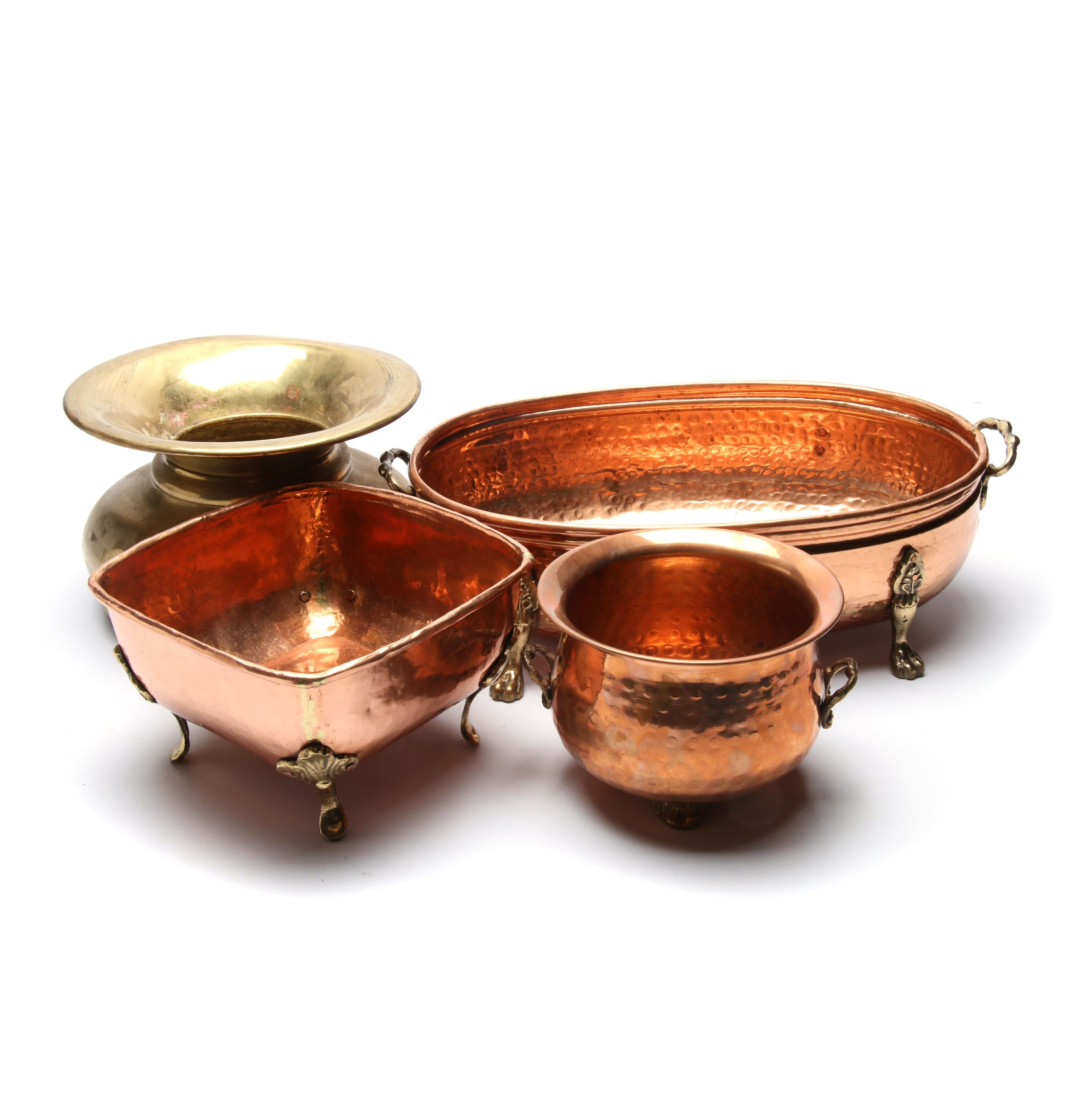 Copper Planters and Brass Spitton