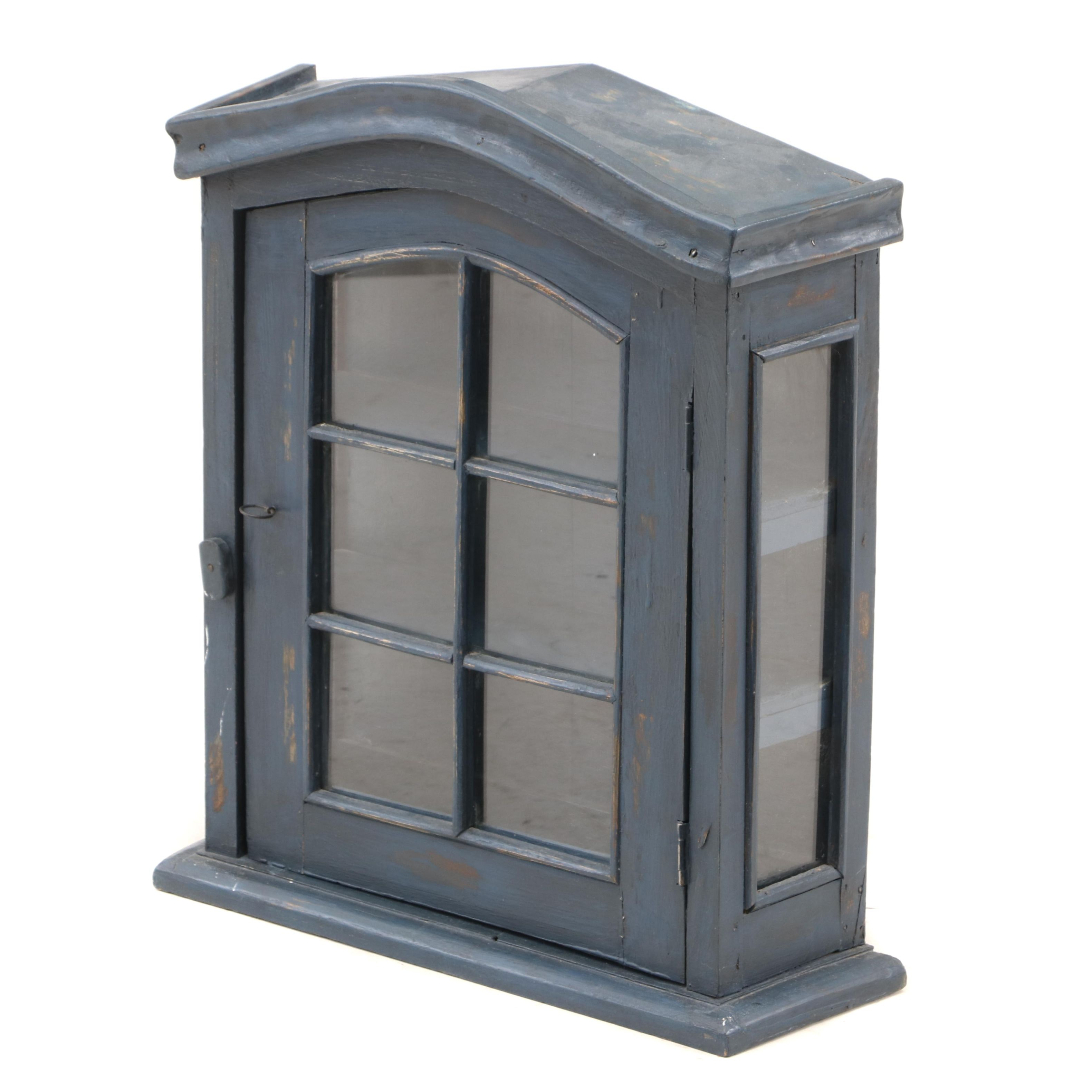 Rustic Style Painted Wall Mount Display Cabinet, 21st Century