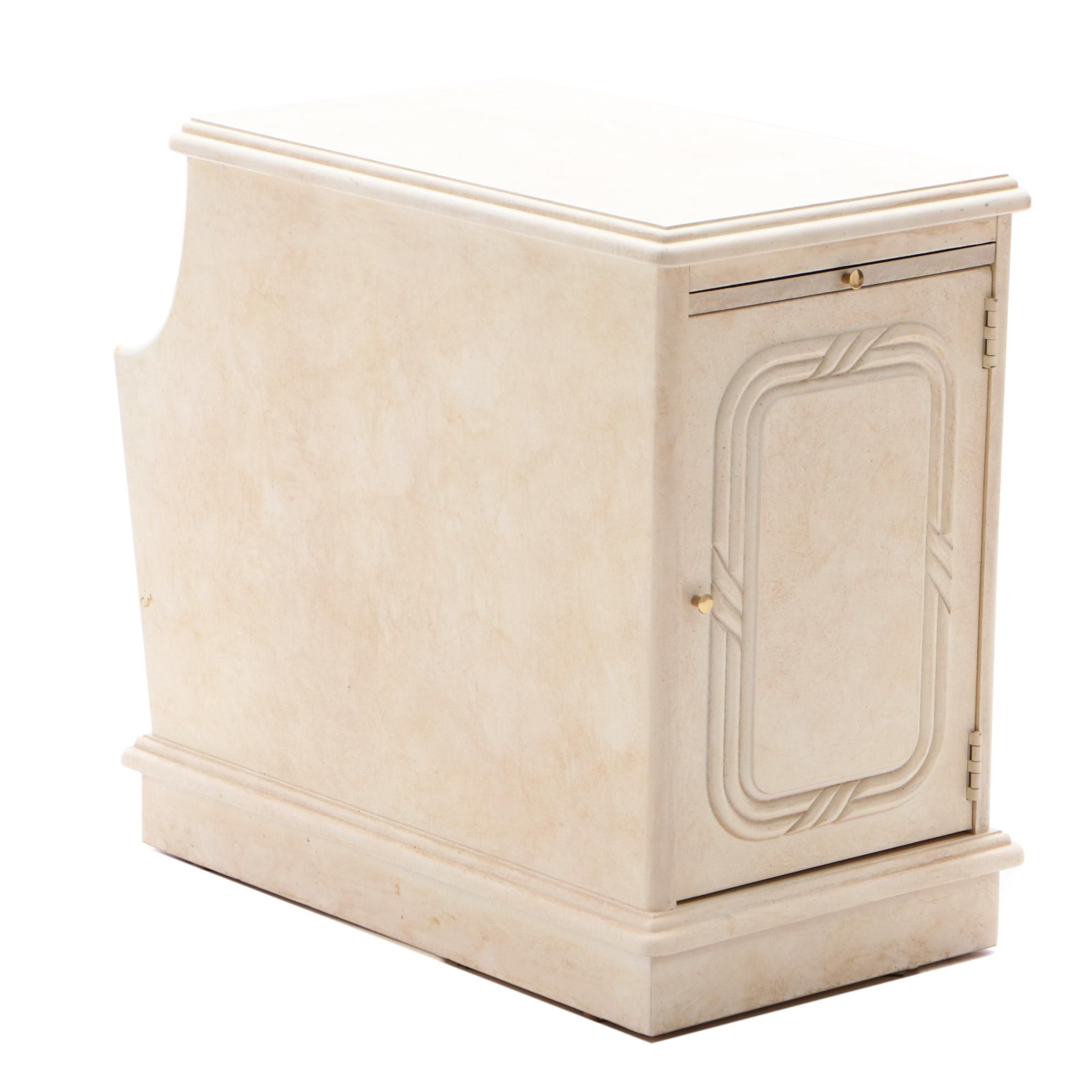 Contemporary Painted End Table with Magazine Rack