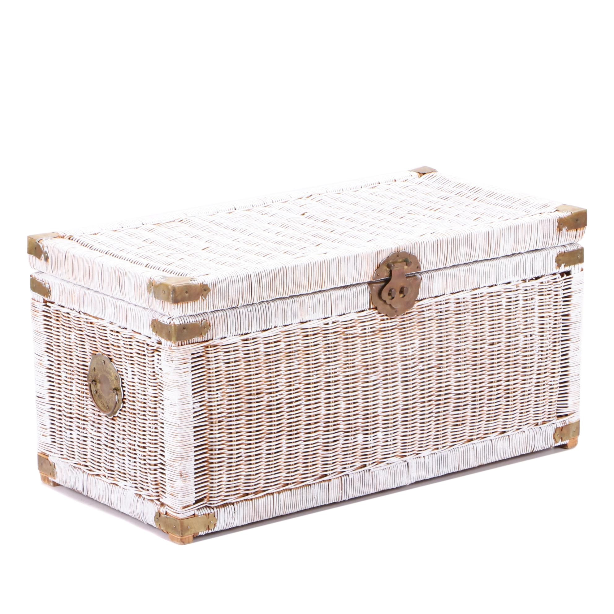 Painted Wicker Weave Storage Trunk, Late 20th Century