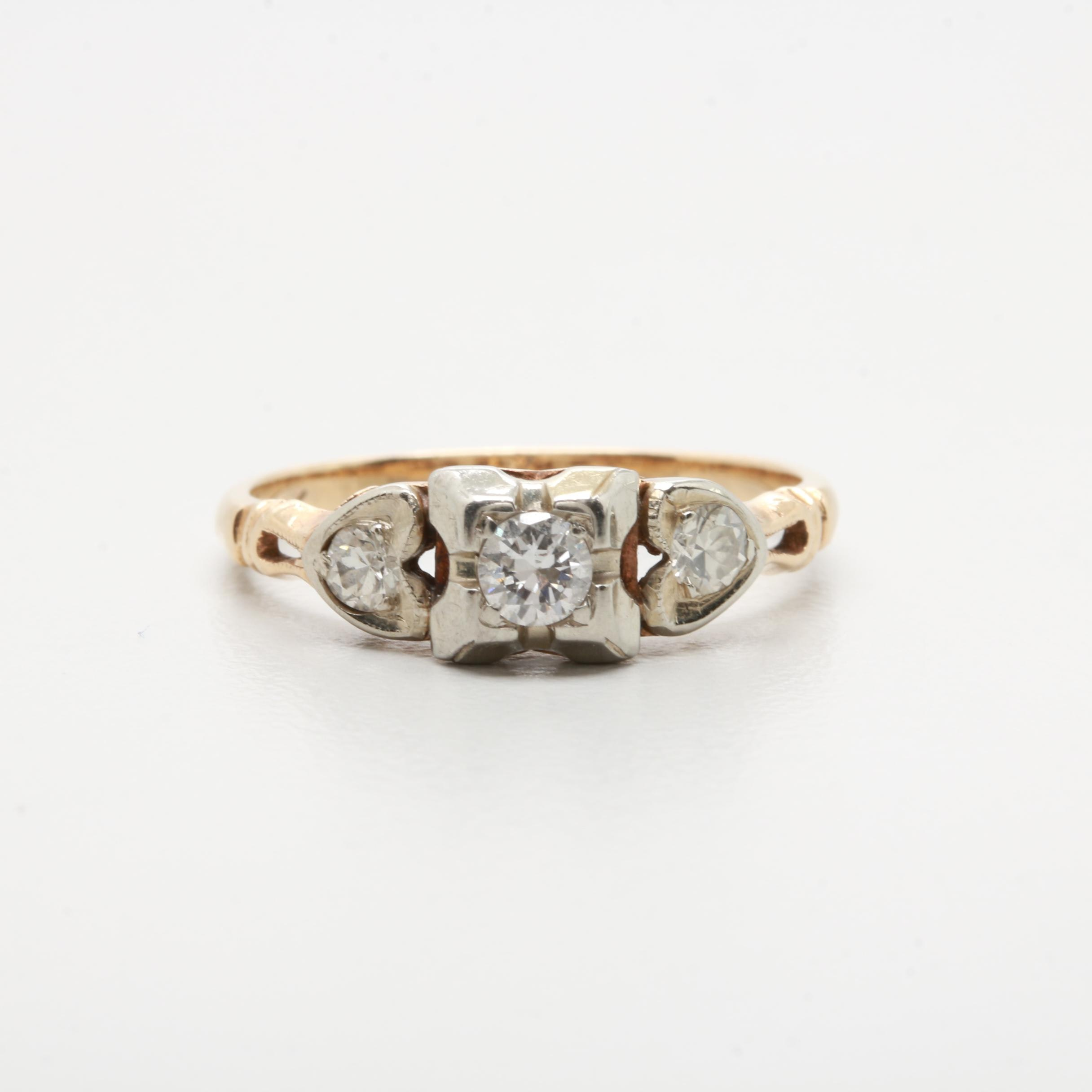 14K Yellow Gold and 18K White Gold Diamond Ring