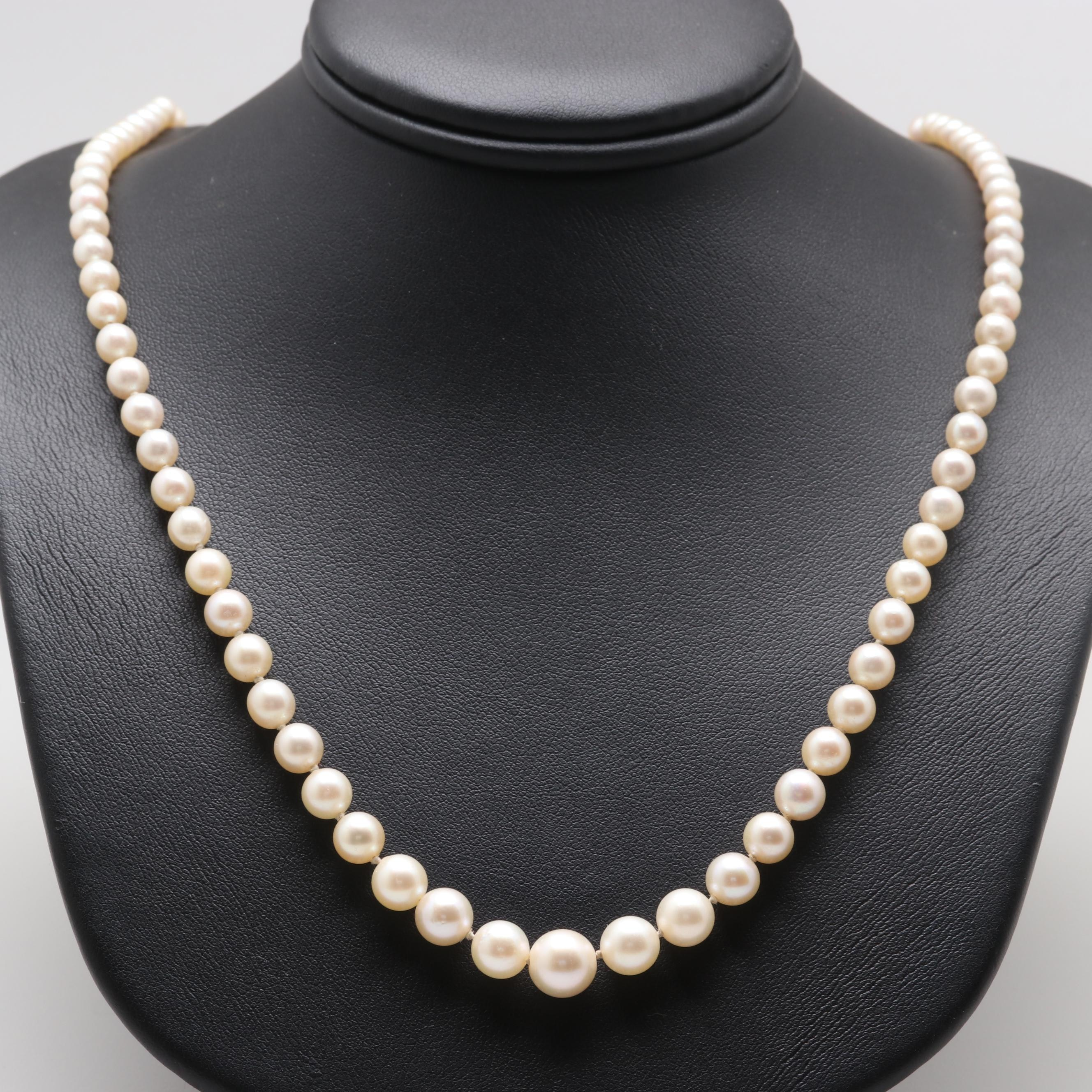 14K and 10K White Gold Graduating Cultured Pearl Necklace