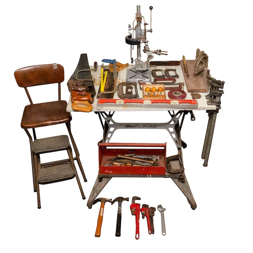 Astonishing Vintage Work Bench Workshop Stool And Hand Tools Ebth Ibusinesslaw Wood Chair Design Ideas Ibusinesslaworg