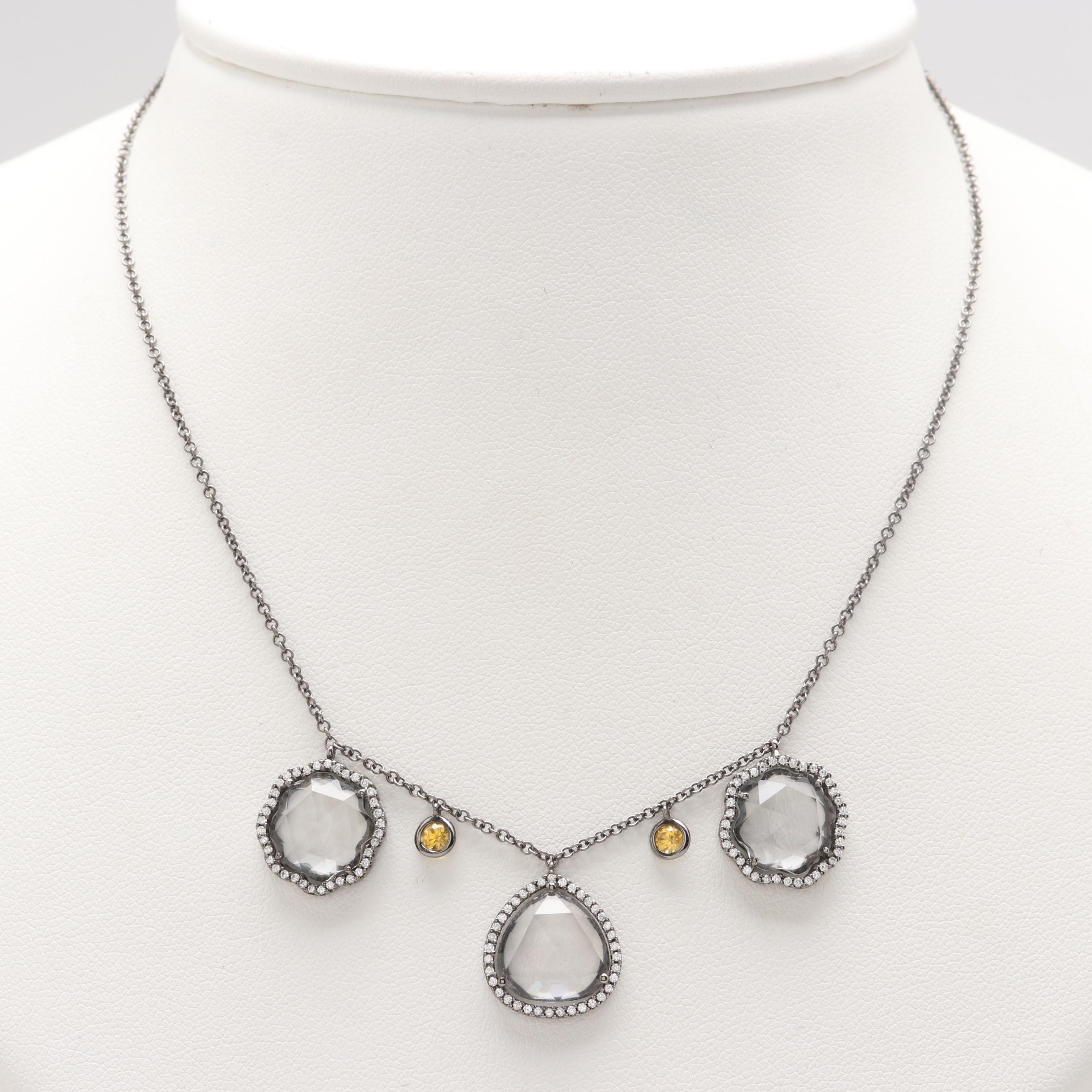 18K White Gold White Topaz, Topaz and Diamond Necklace