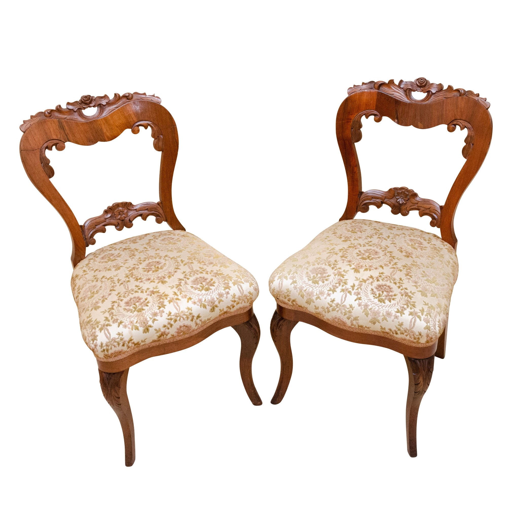 Pair of Victorian Cherrywood Side Chairs, Late 19th Century