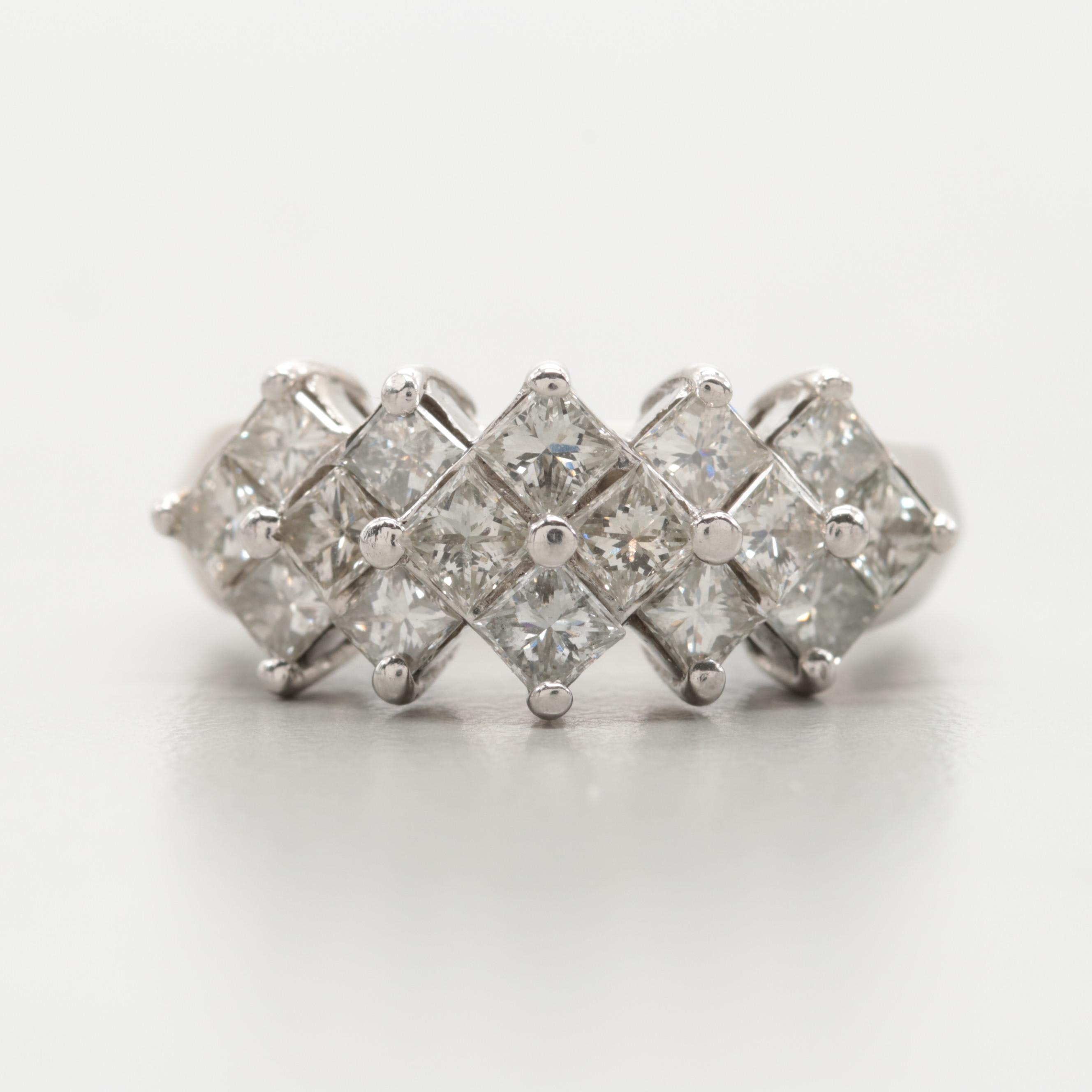 14K White Gold 1.72 Diamond Ring