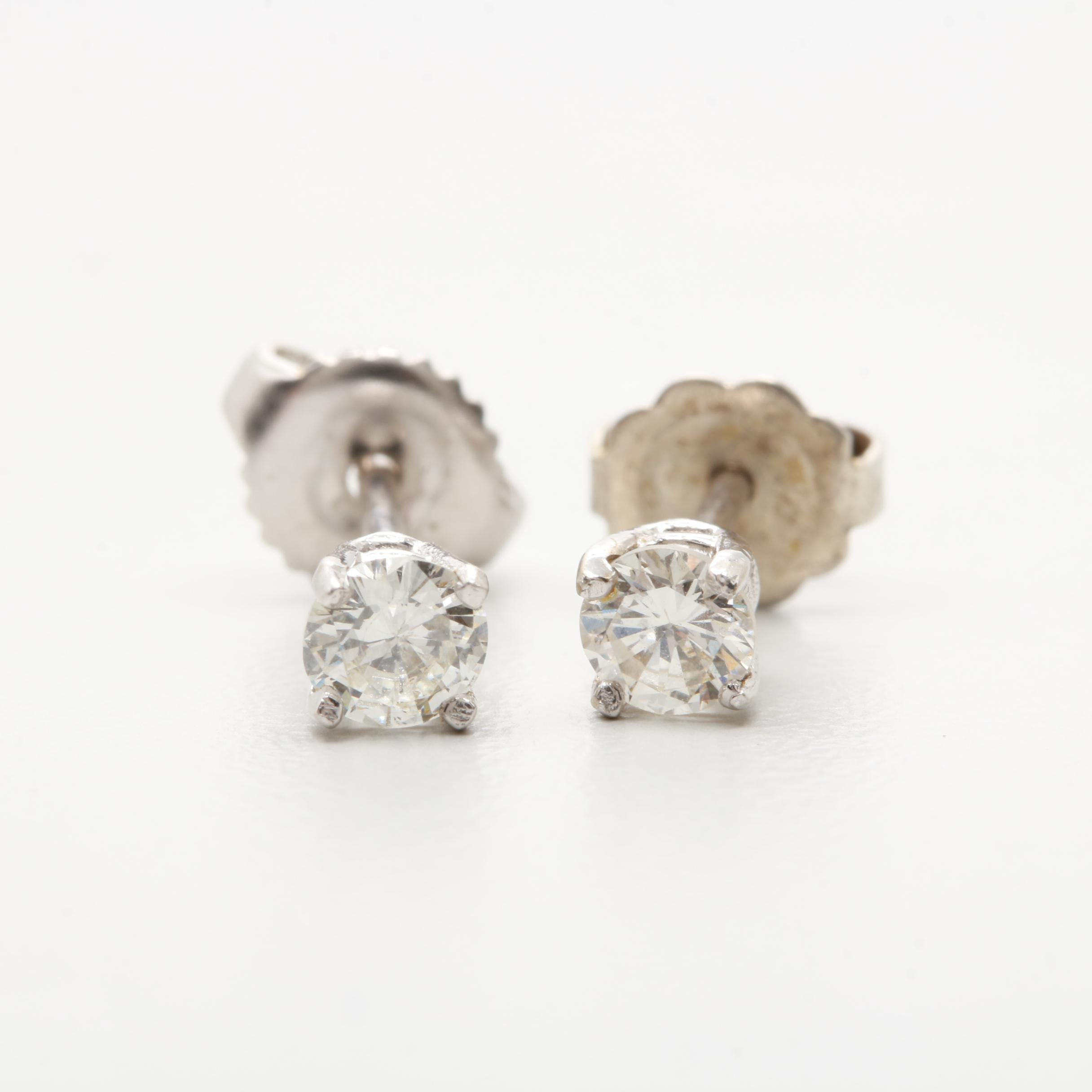 14K White Gold Diamond Studs Earrings