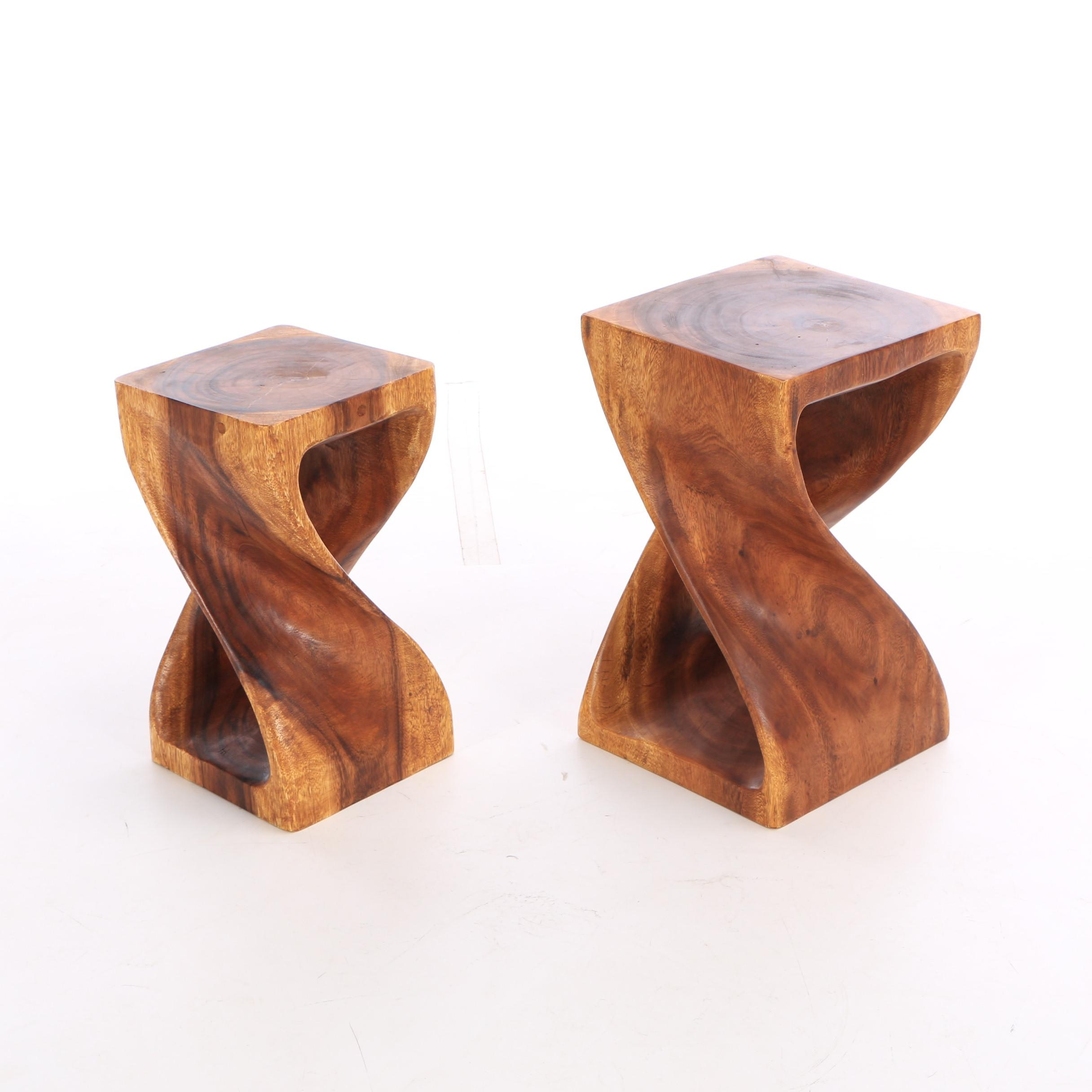 Pair of Haussmann Hand Carved Monkey Pod Wood Twist End Tables